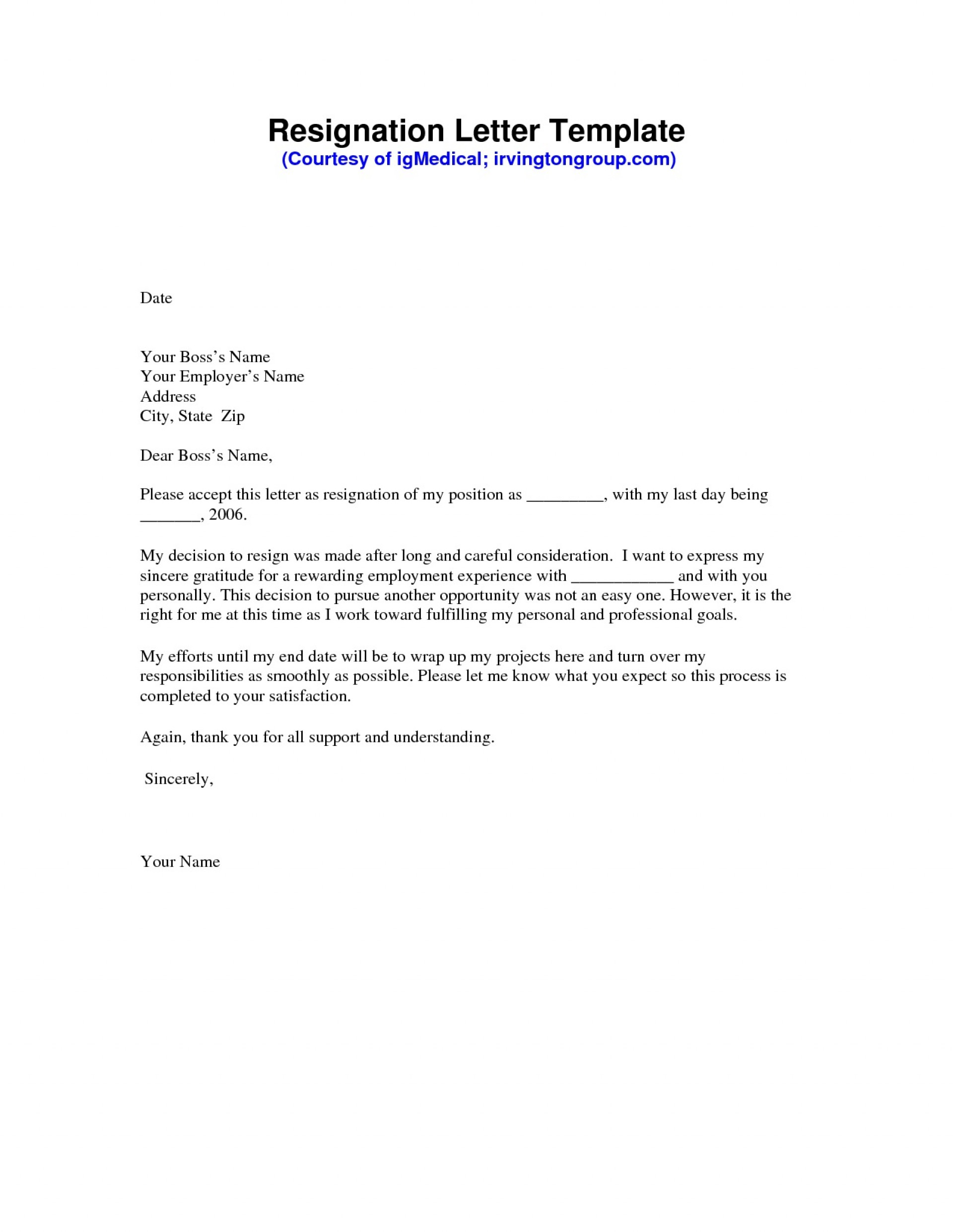 000 Remarkable Professional Resignation Letter Template Image  Best Format Pdf How To Write A1920