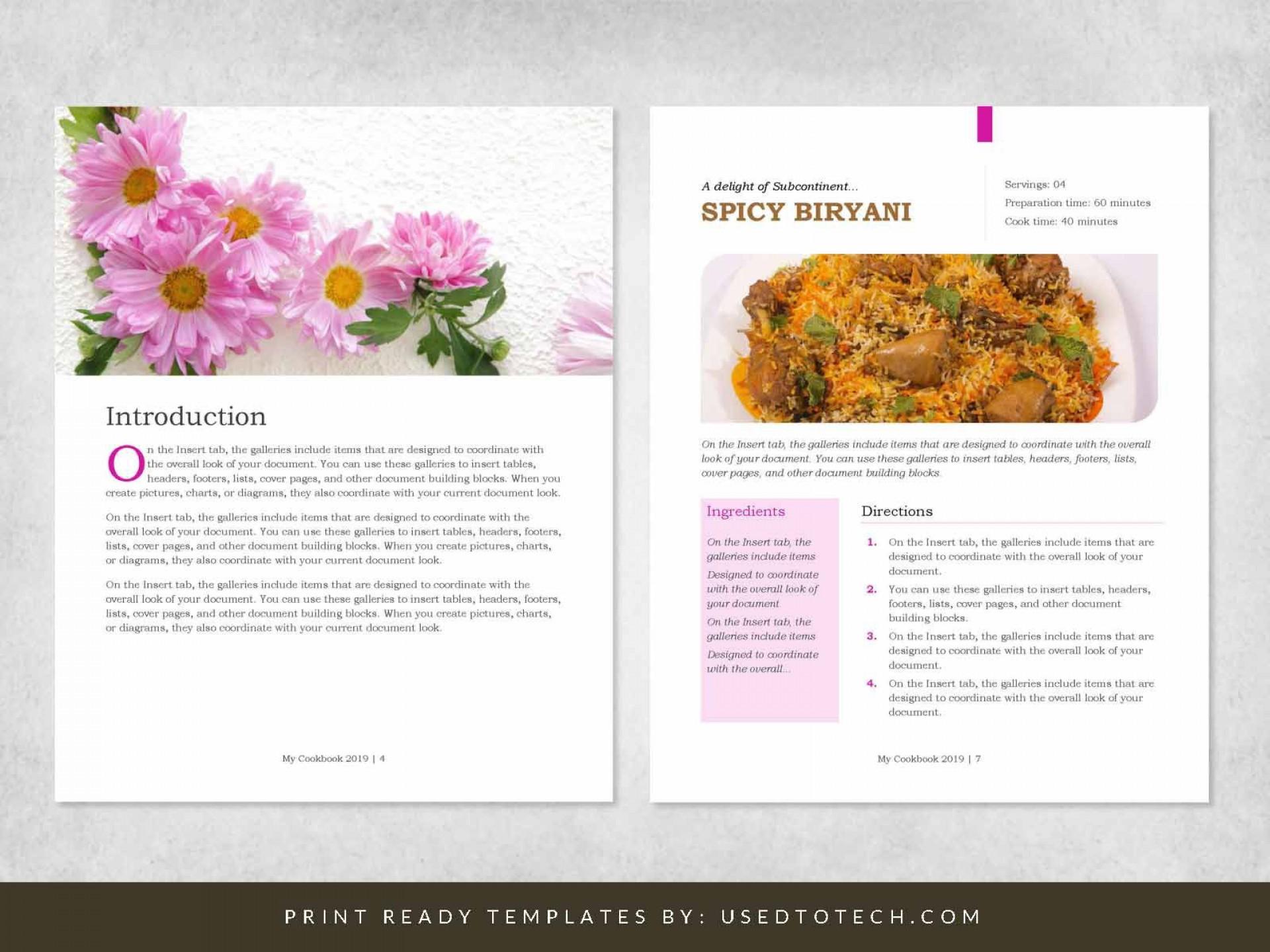 000 Remarkable Recipe Book Template Word Design  Mac Free Microsoft1920