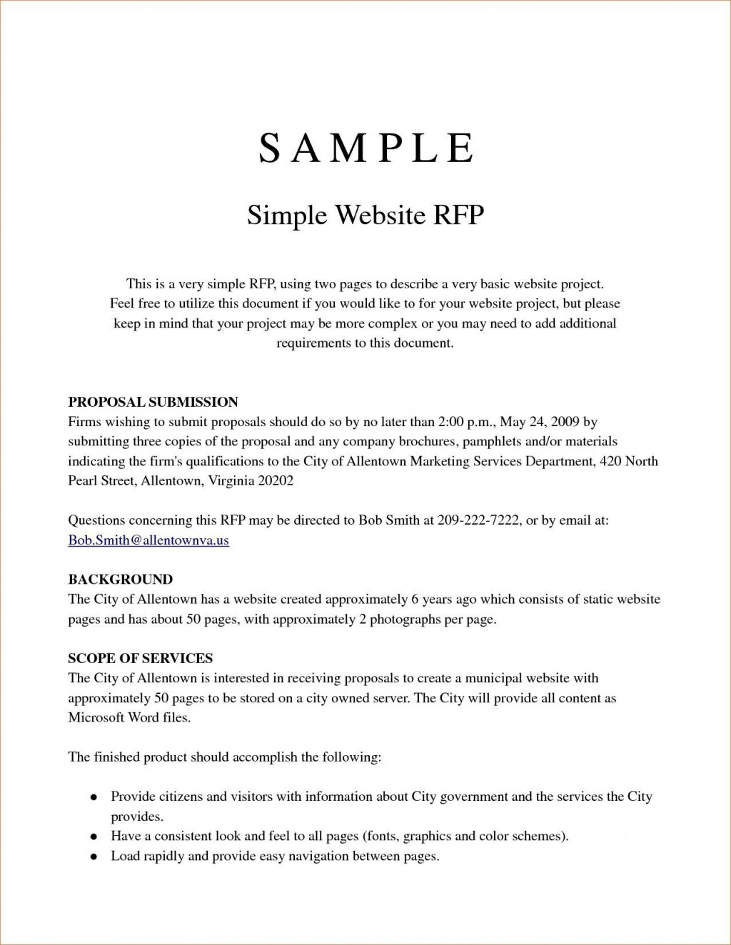 000 Remarkable Request For Proposal Template Word Free Sample Large