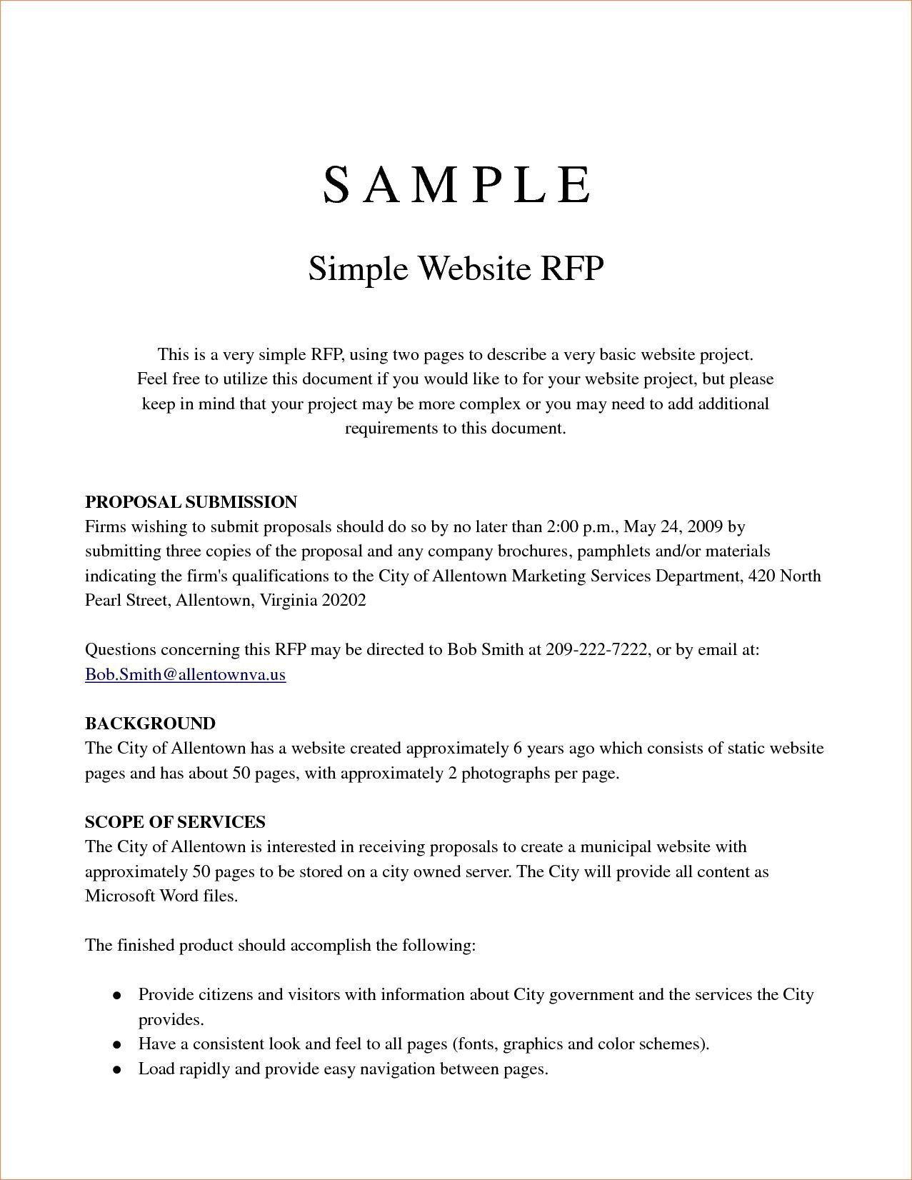 000 Remarkable Request For Proposal Template Word Free Sample Full