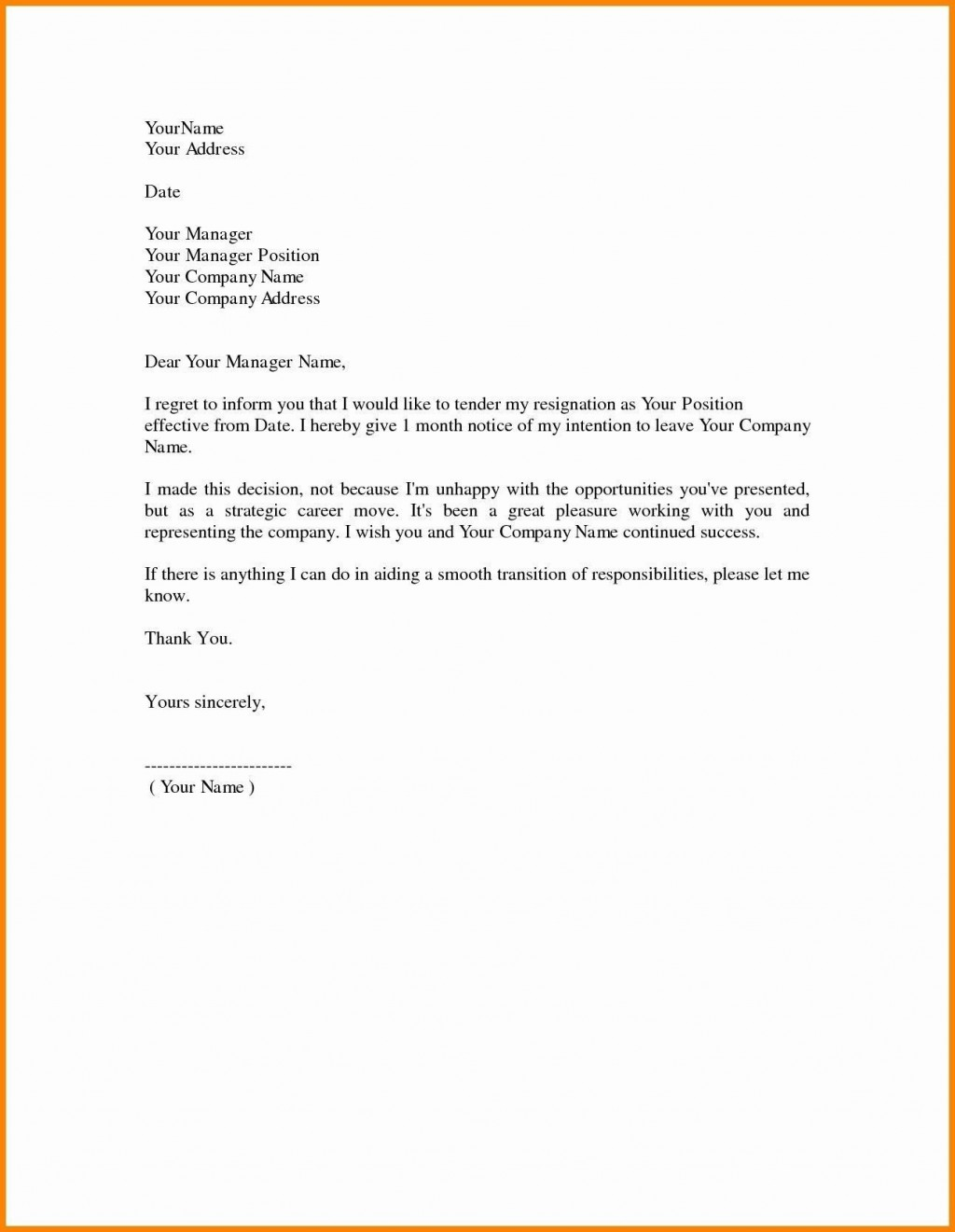 000 Remarkable Template For Letter Of Resignation Idea  Free With Notice Period WordLarge