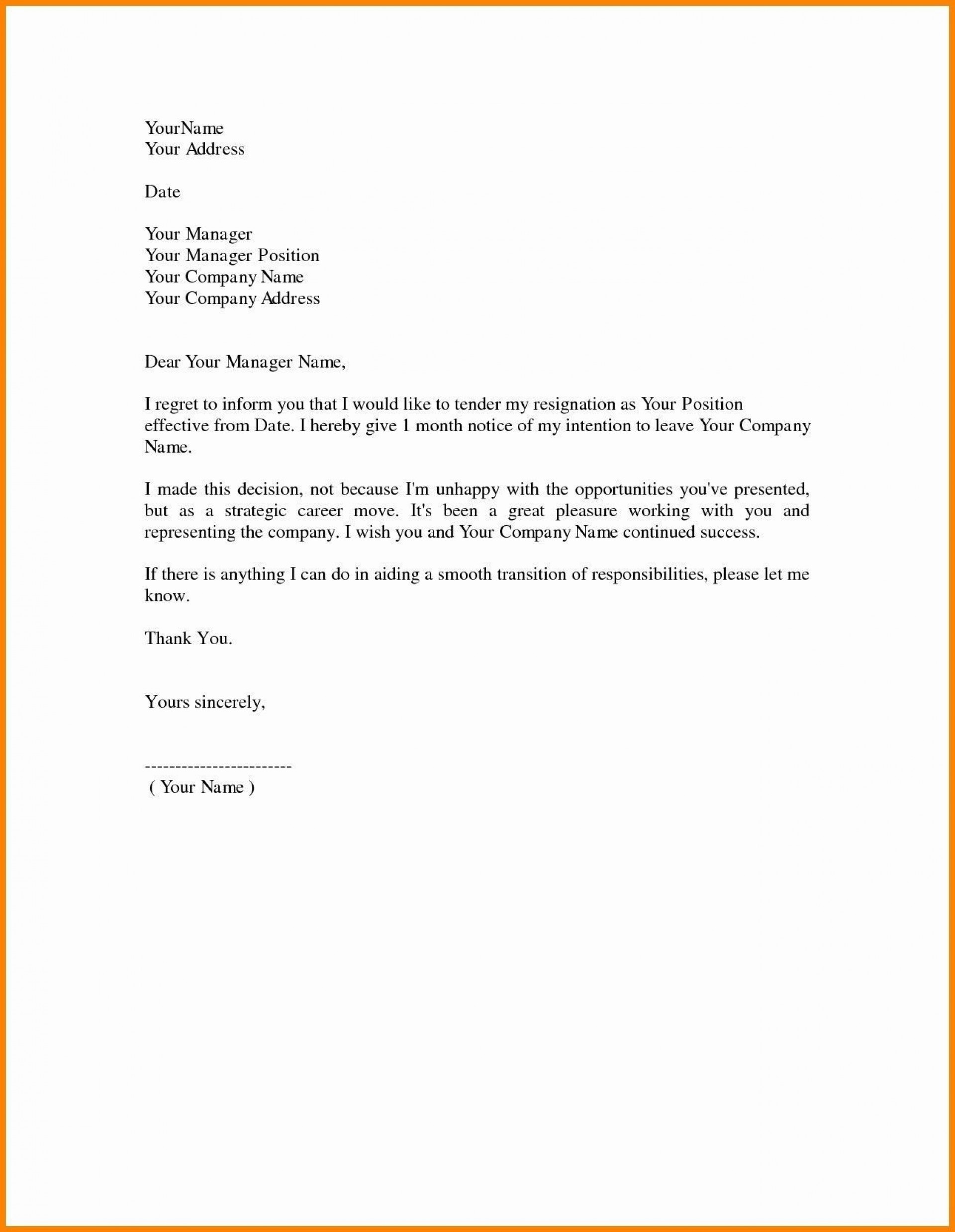 000 Remarkable Template For Letter Of Resignation Idea  Free With Notice Period Word1920