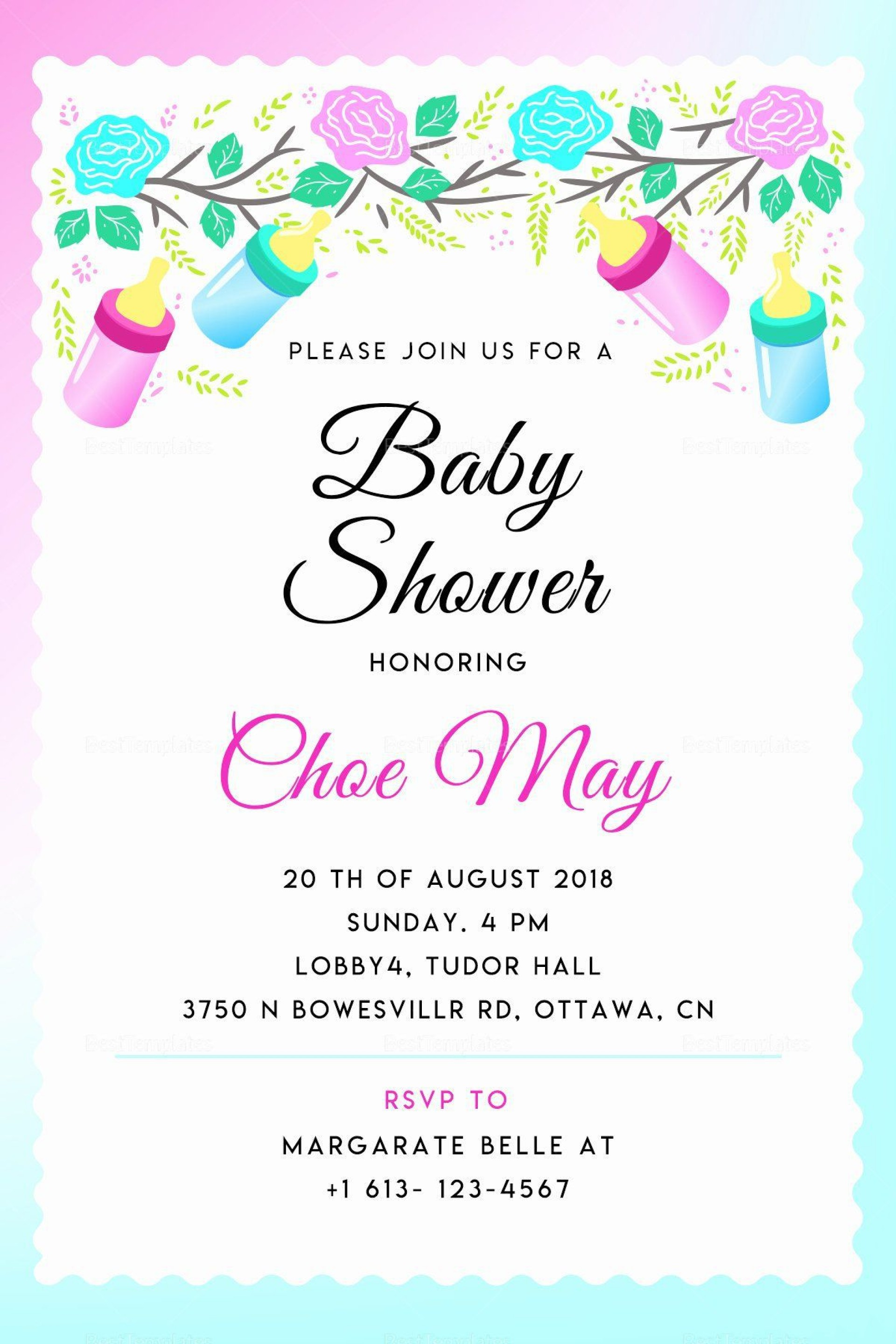 000 Sensational Baby Shower Invitation Template Word Picture  Office Wording Sample Work Download1920