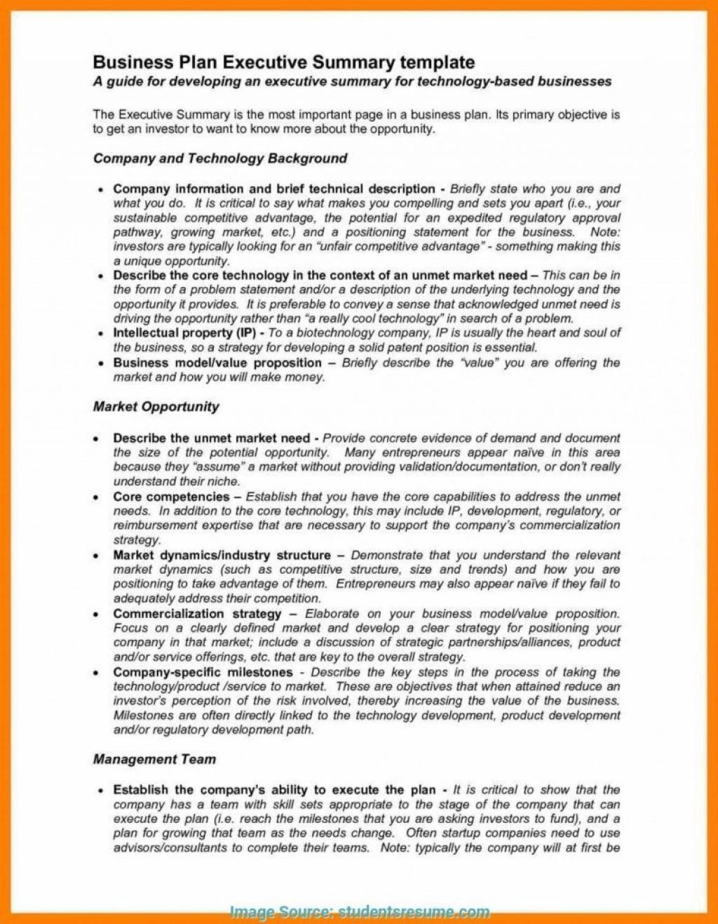 Business Plan Executive Summary Template Addictionary