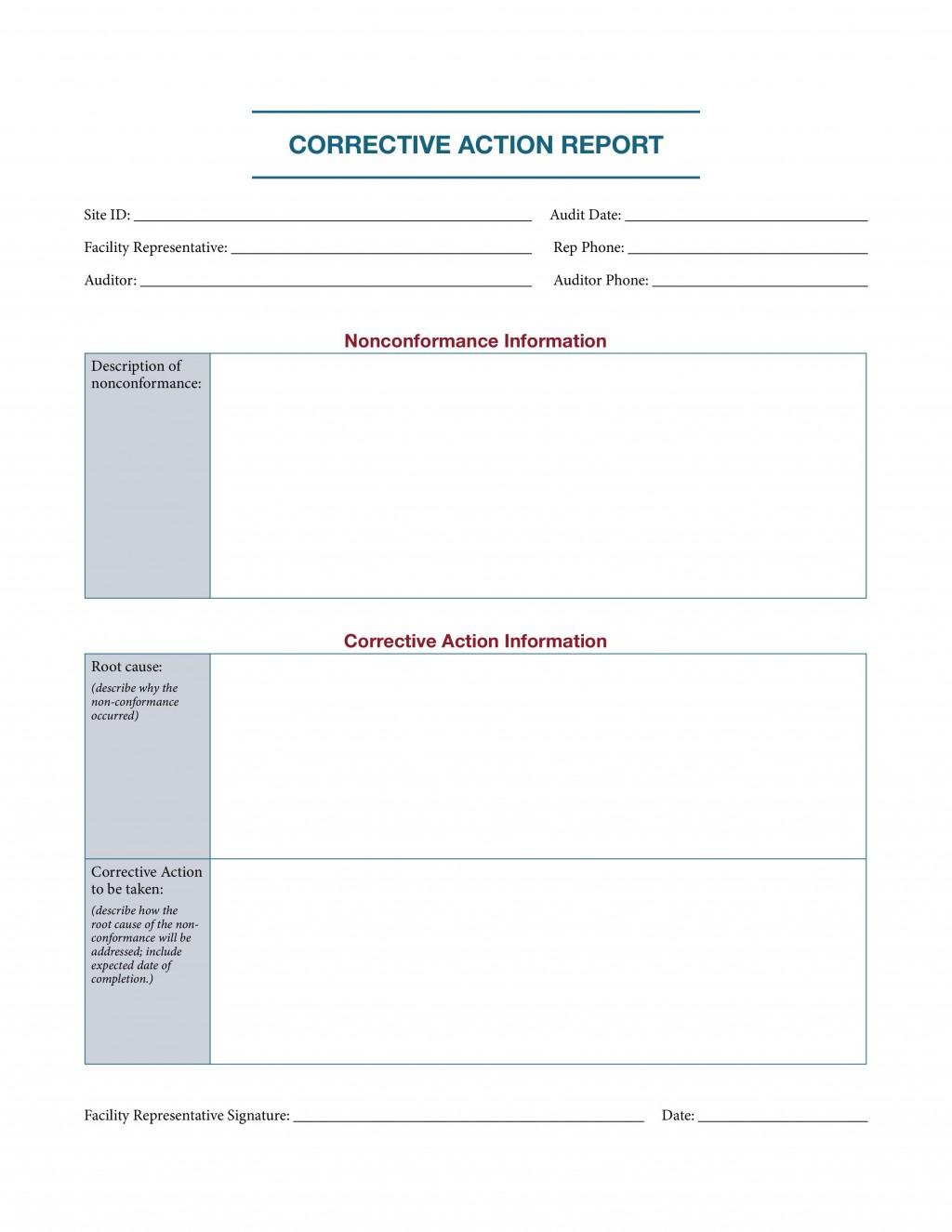 000 Sensational Corrective Action Report Template Concept  Doc 8d Format PdfLarge