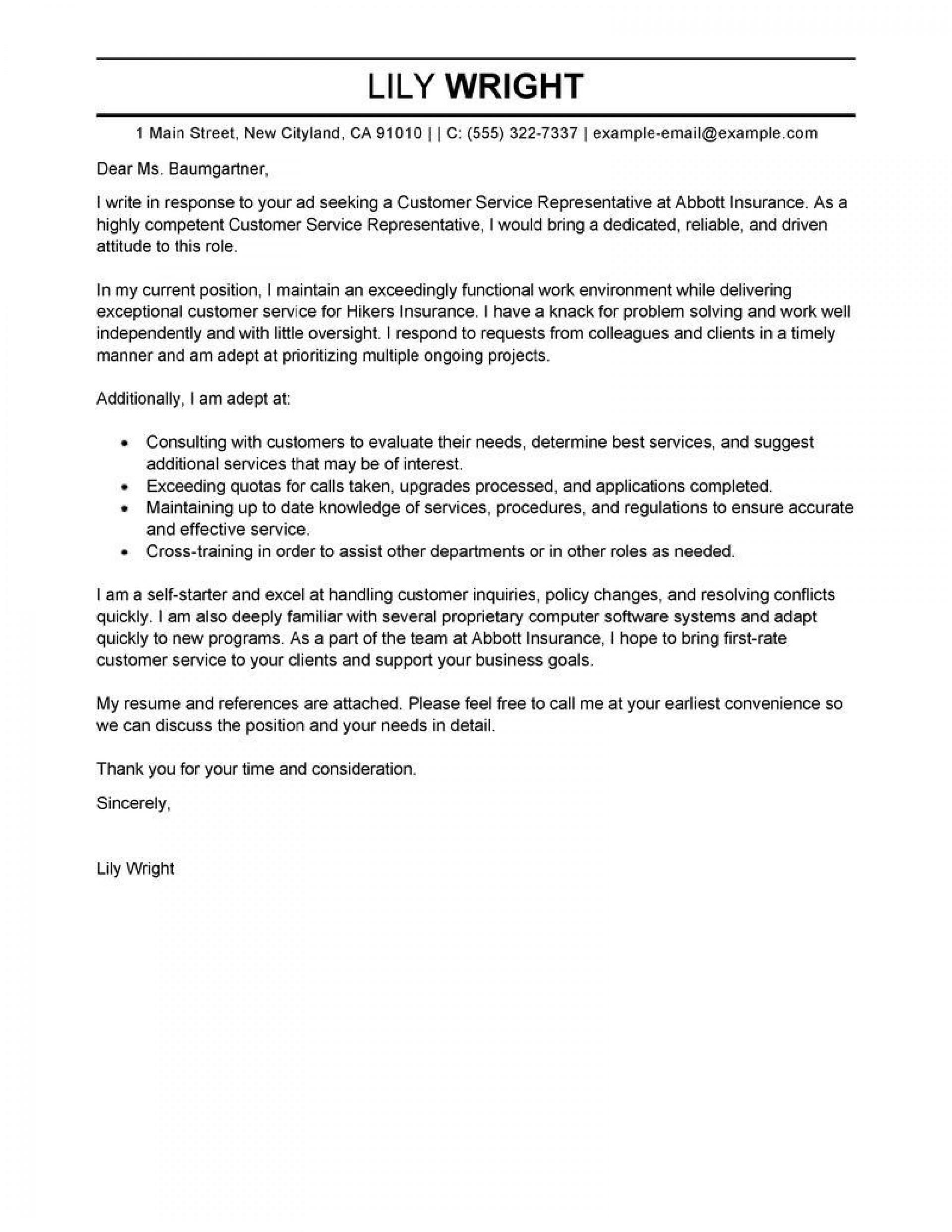 000 Sensational Email Cover Letter Example For Customer Service Idea  Sample Representative1920