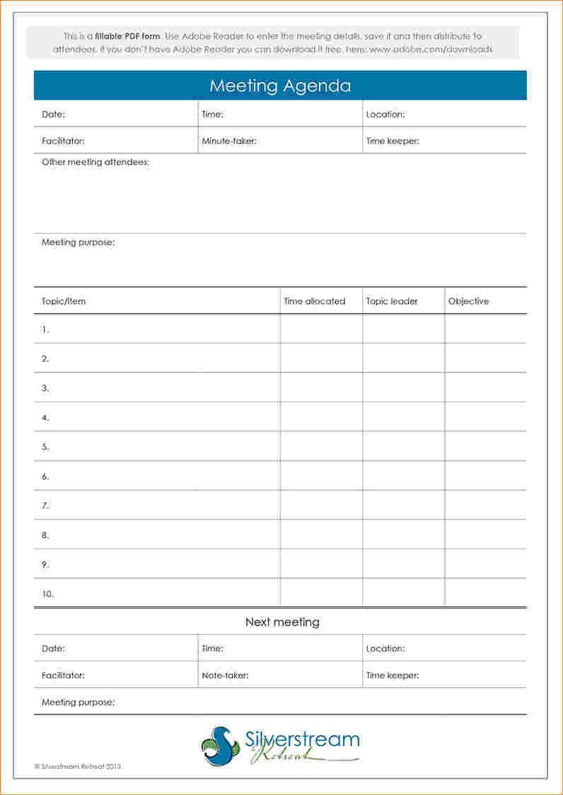 000 Sensational Formal Meeting Agenda Template Excel Picture Full