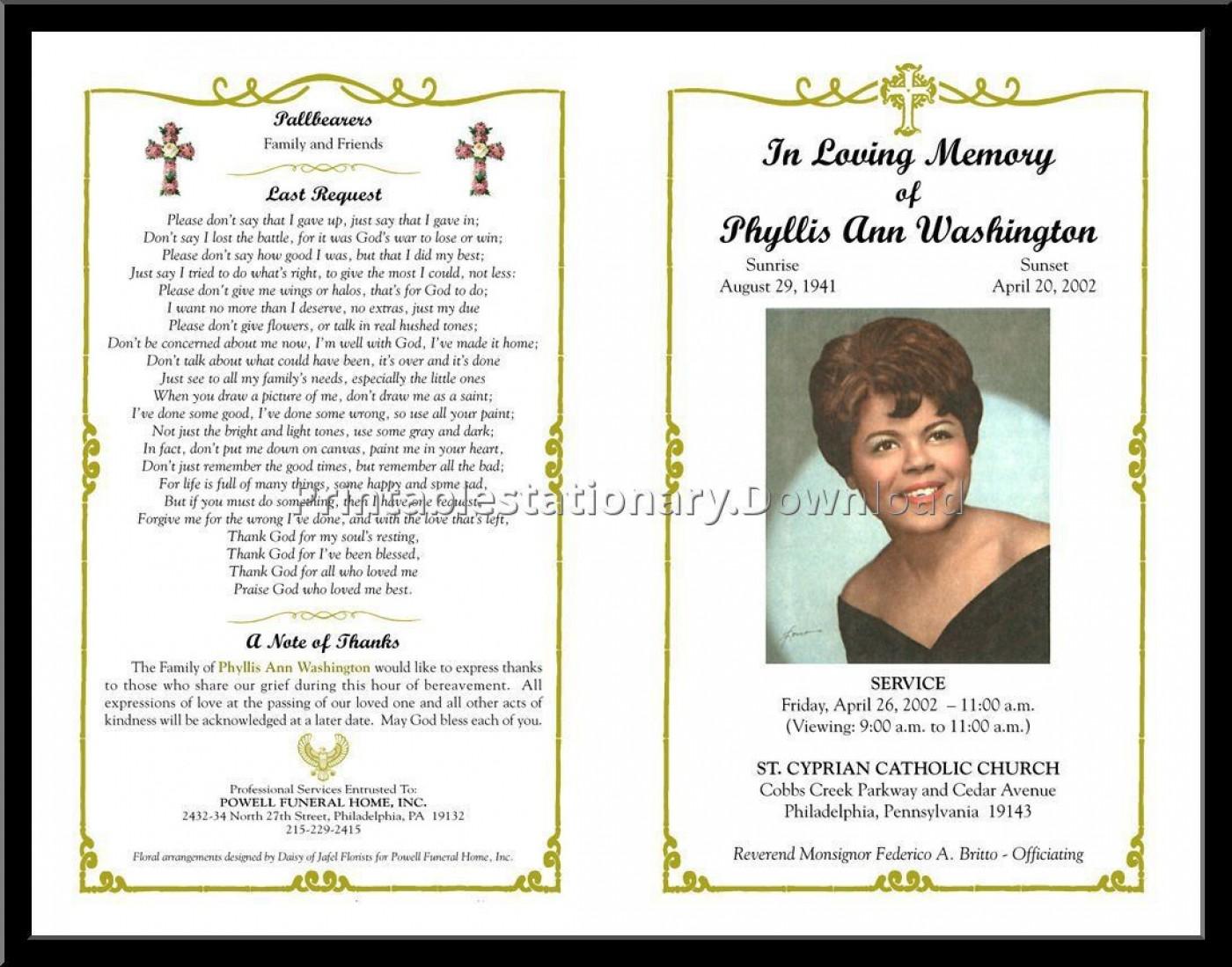 000 Sensational Free Download Template For Funeral Program Design 1400