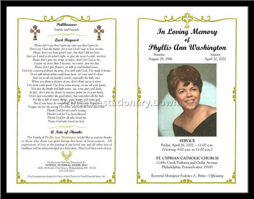 000 Sensational Free Download Template For Funeral Program Design