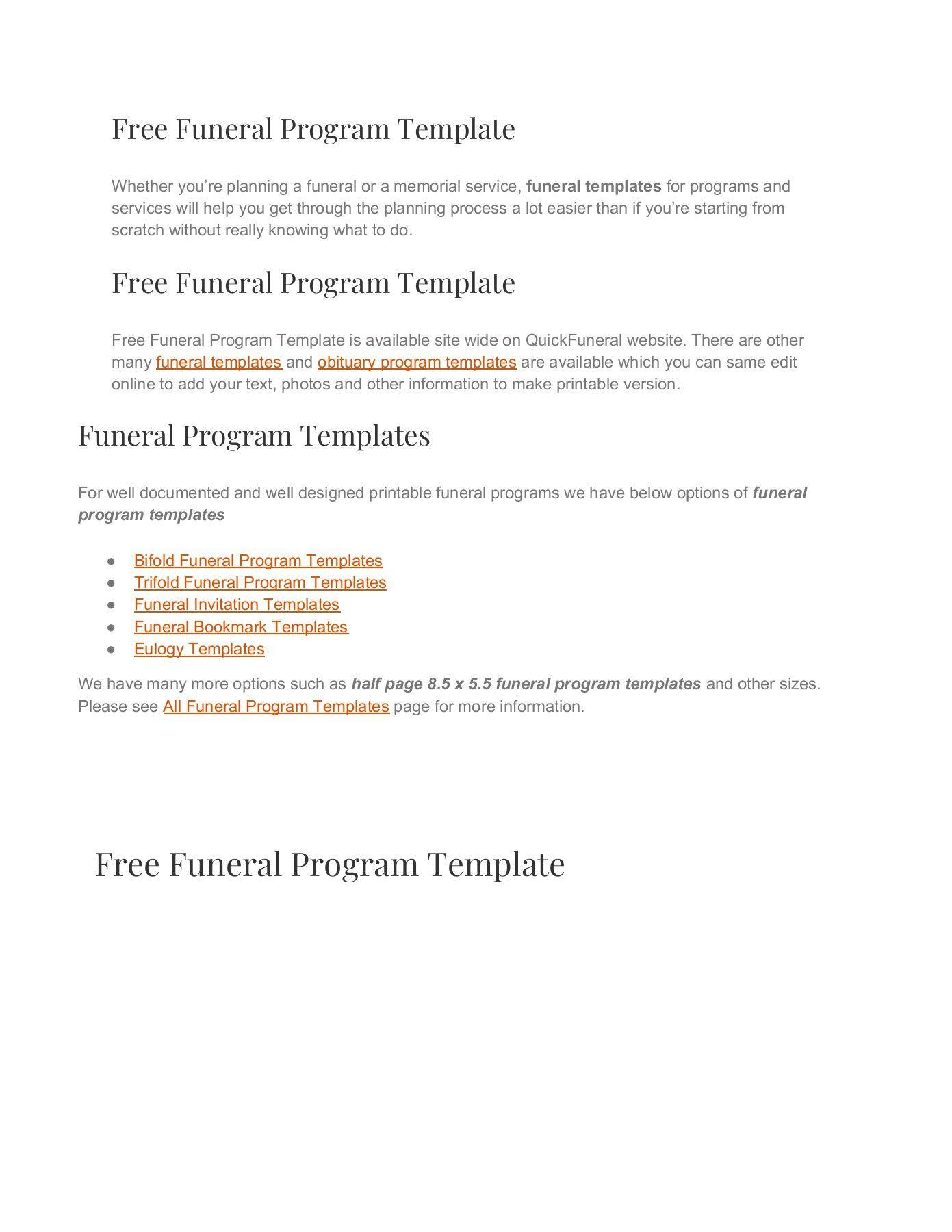 000 Sensational Free Funeral Program Template Download Design  2010 Downloadable Editable Pdf BlankFull