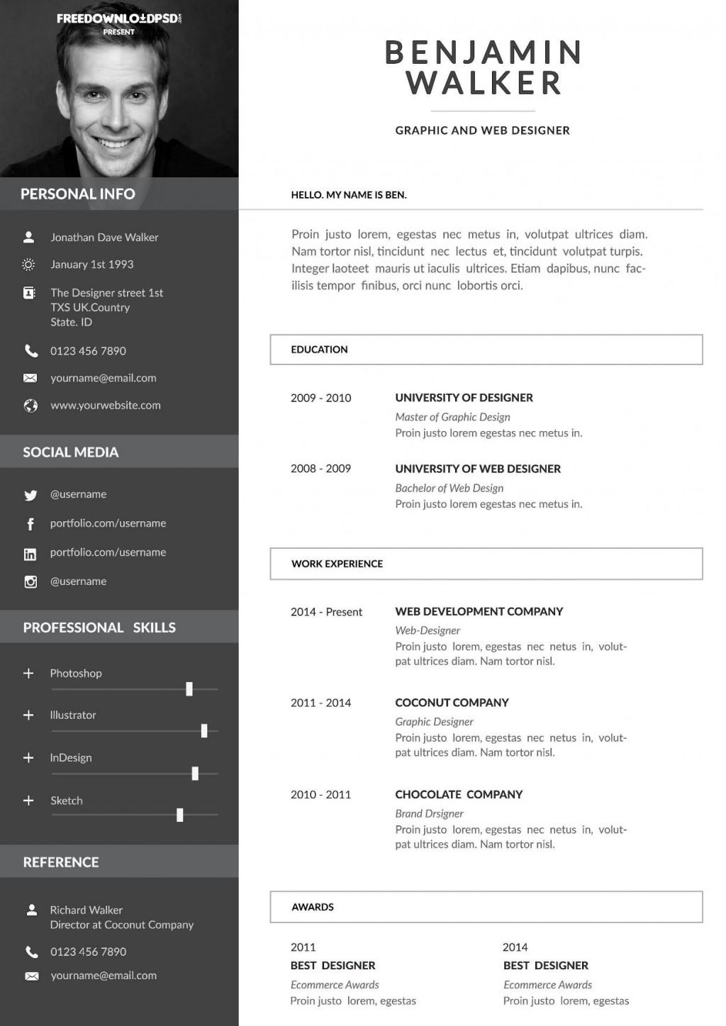 000 Sensational Free One Page Resume Template Design  Word Download 2018 BestLarge