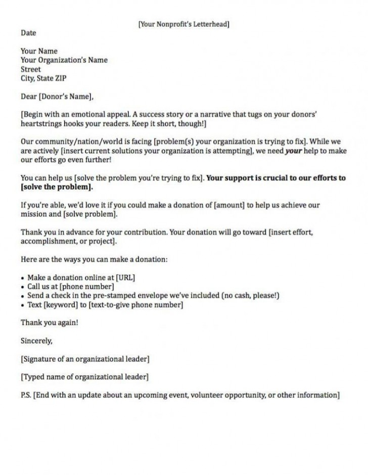 000 Sensational Fund Raising Letter Template Example  Fundraising For Mission Trip School Sample Of A Nonprofit Organization728