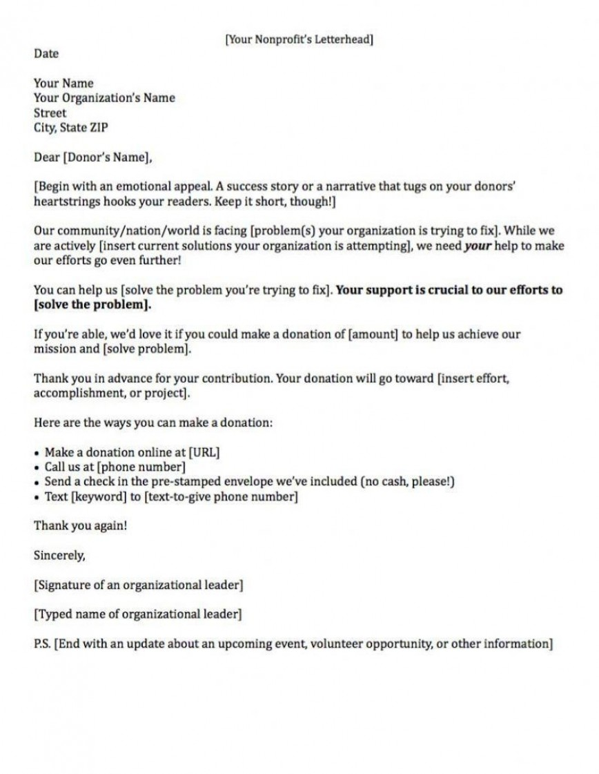 000 Sensational Fund Raising Letter Template Example  Fundraising For Mission Trip School Sample Of A Nonprofit Organization868