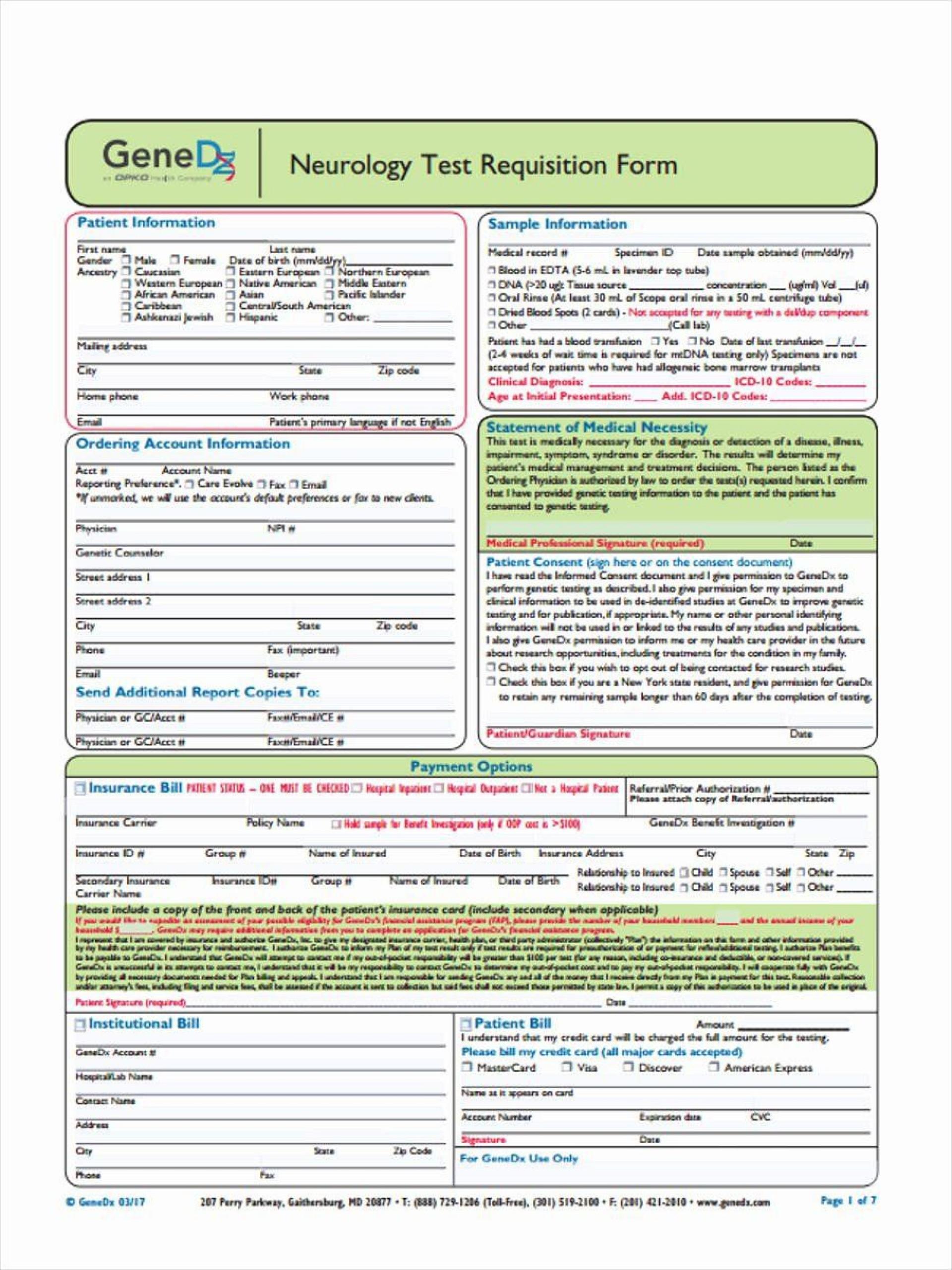 000 Sensational Lab Requisition Form Template Idea  Quest Diagnostic Pdf1920