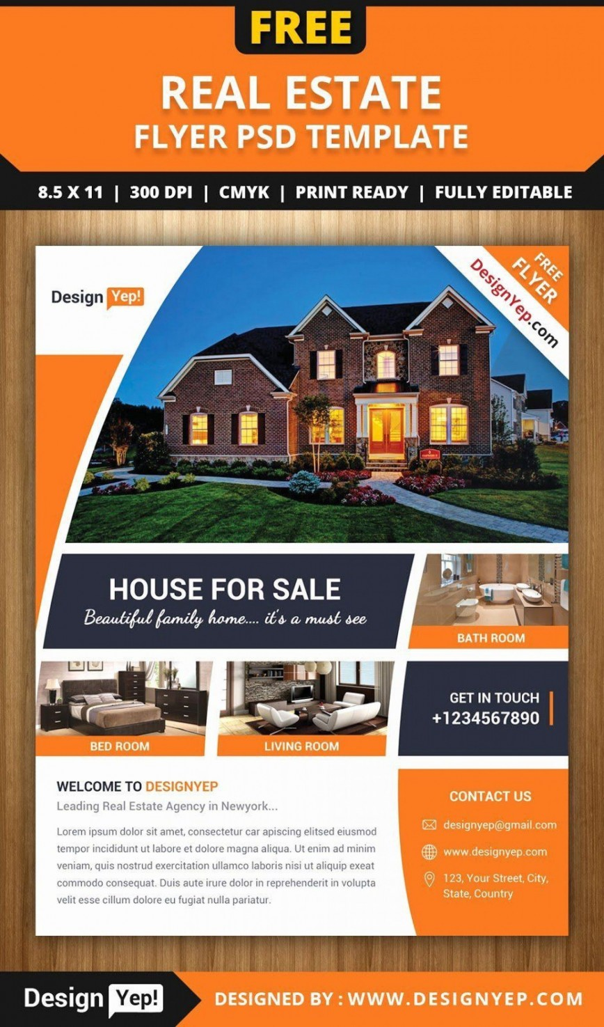 000 Sensational Real Estate Flyer Template Free Concept  Publisher Pdf Download Open House