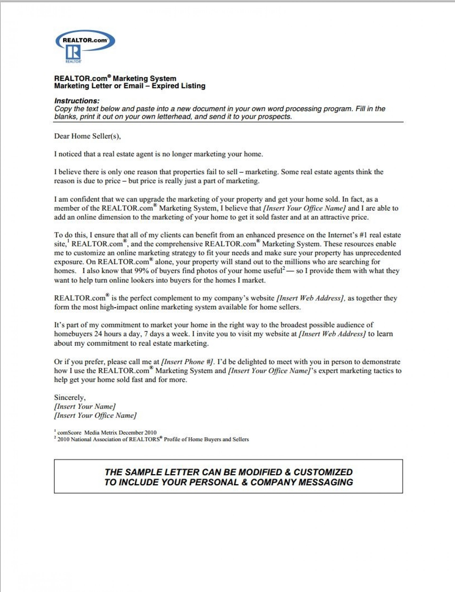 000 Sensational Real Estate Marketing Letter Example Photo  Examples Agent Sample1920
