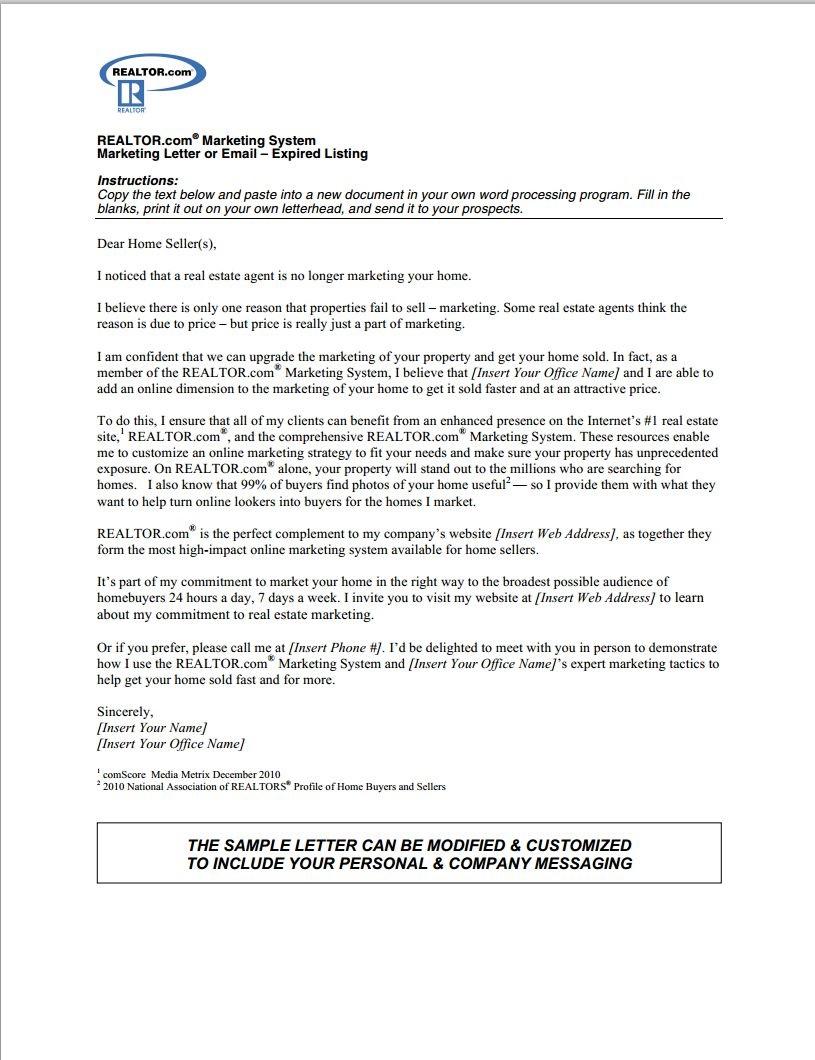 000 Sensational Real Estate Marketing Letter Example Photo  Examples Agent SampleFull