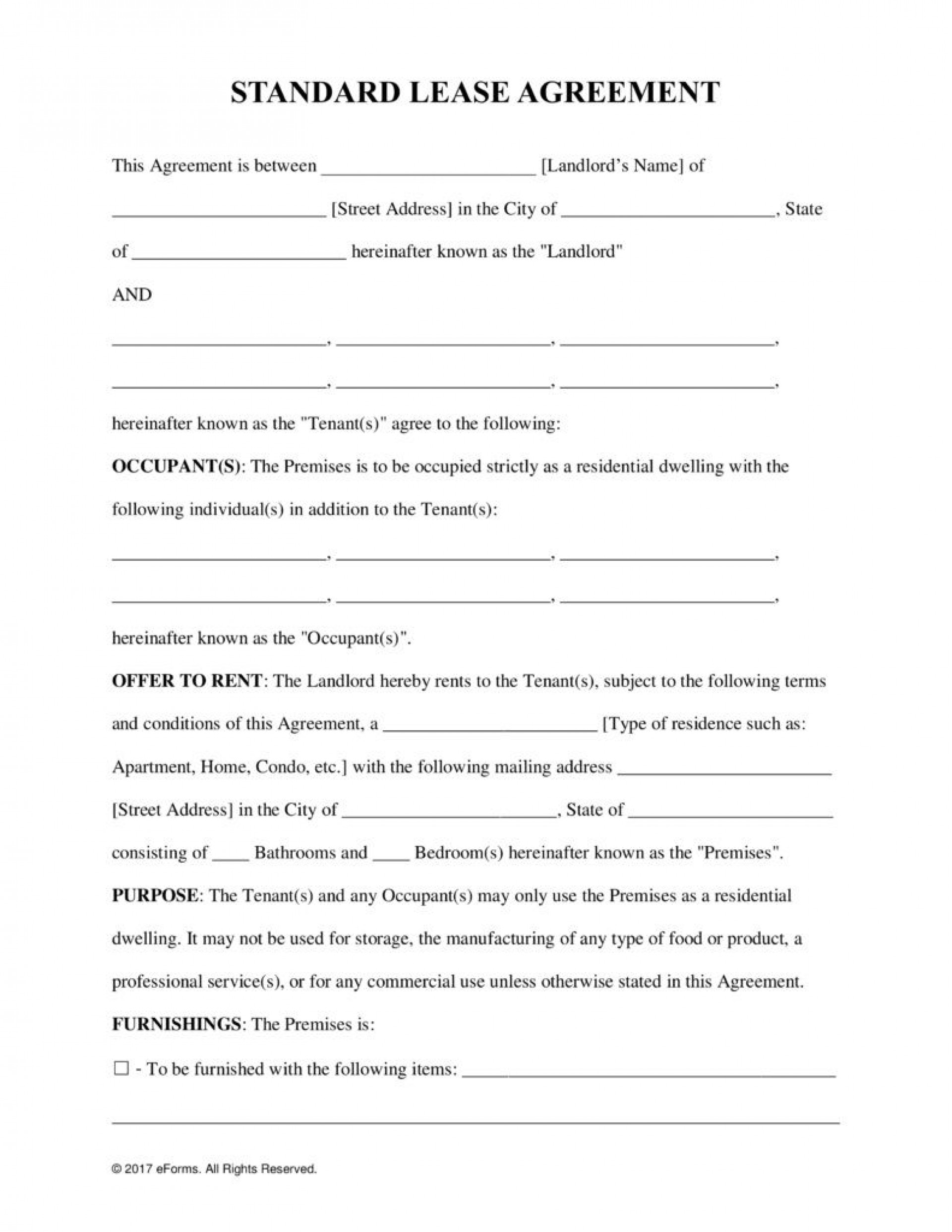 000 Sensational Rental Agreement Template Free Sample  Tenancy Rent Pdf1920