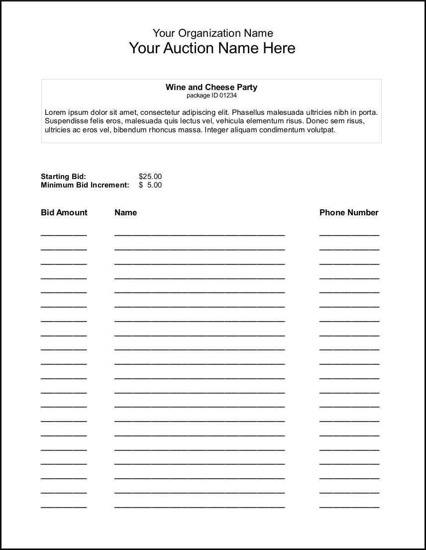000 Sensational Silent Auction Bid Sheet Template Example  Free Download Sample Microsoft WordFull