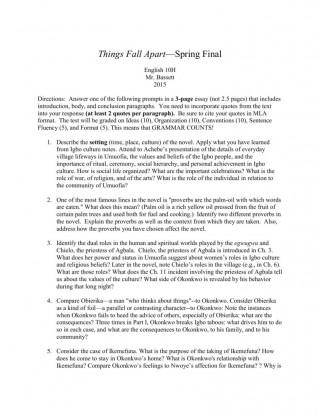000 Sensational Thing Fall Apart Essay High Definition 320