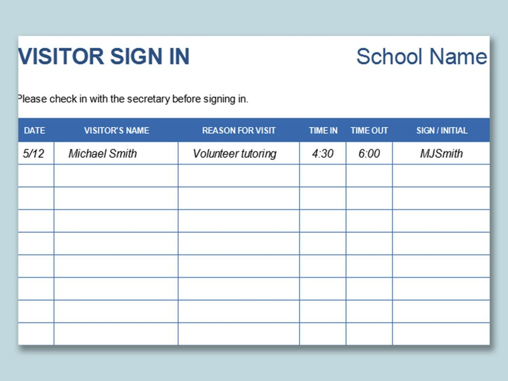 000 Sensational Visitor Sign In Sheet Template Idea  Pdf Free PrintableLarge