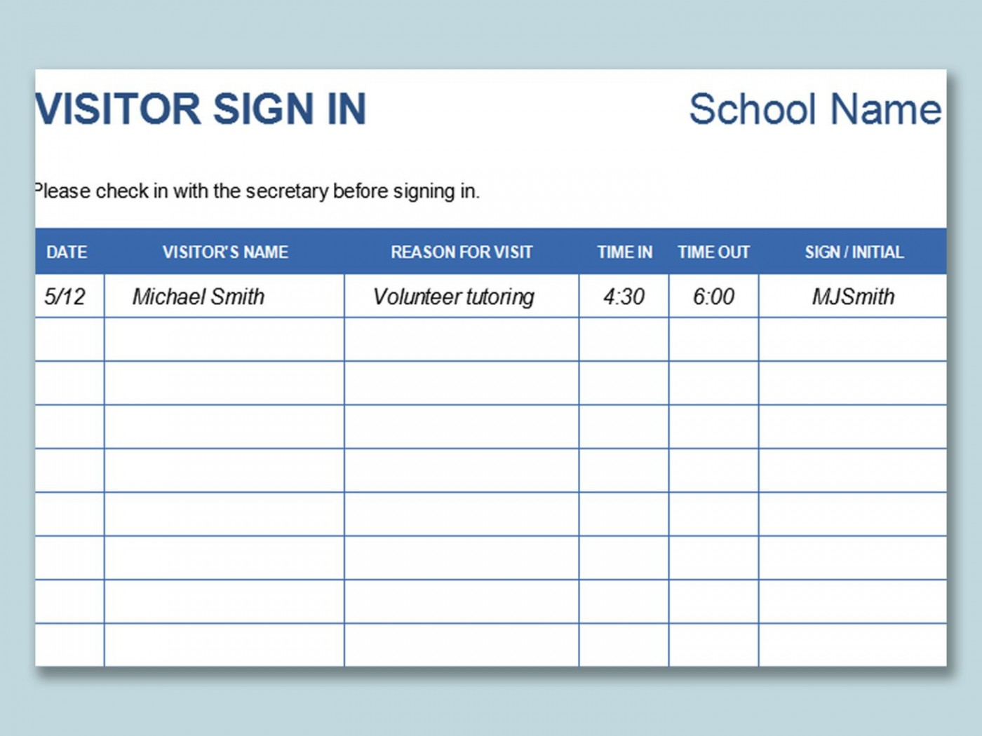000 Sensational Visitor Sign In Sheet Template Idea  Pdf Free Printable1400