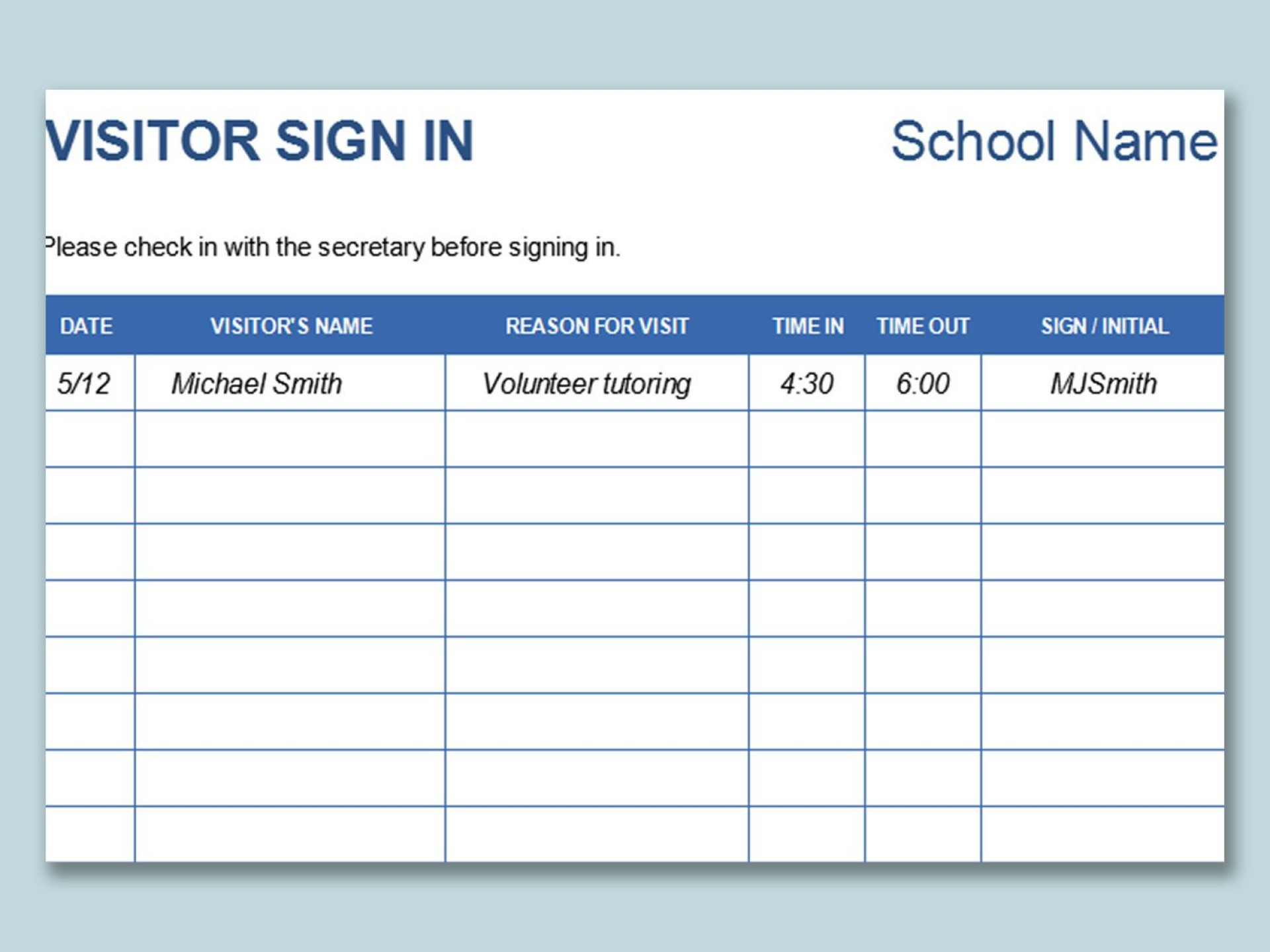 000 Sensational Visitor Sign In Sheet Template Idea  Pdf Free Printable1920