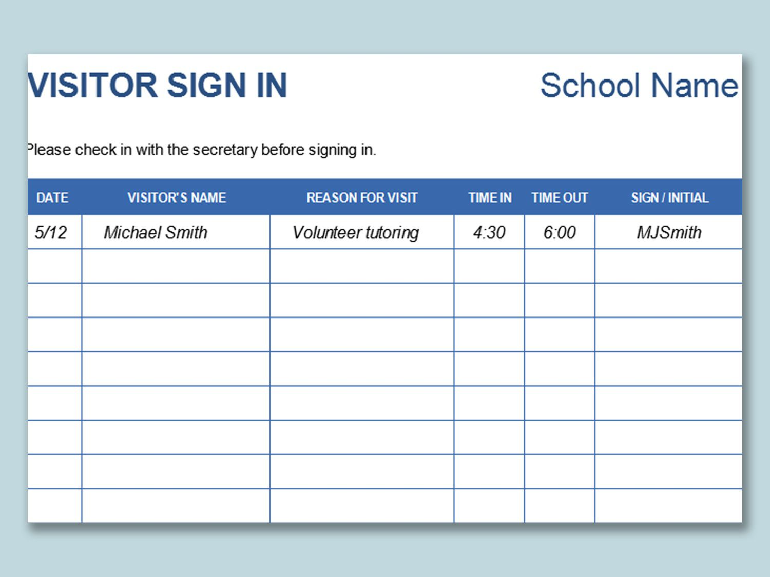 000 Sensational Visitor Sign In Sheet Template Idea  Pdf Free PrintableFull