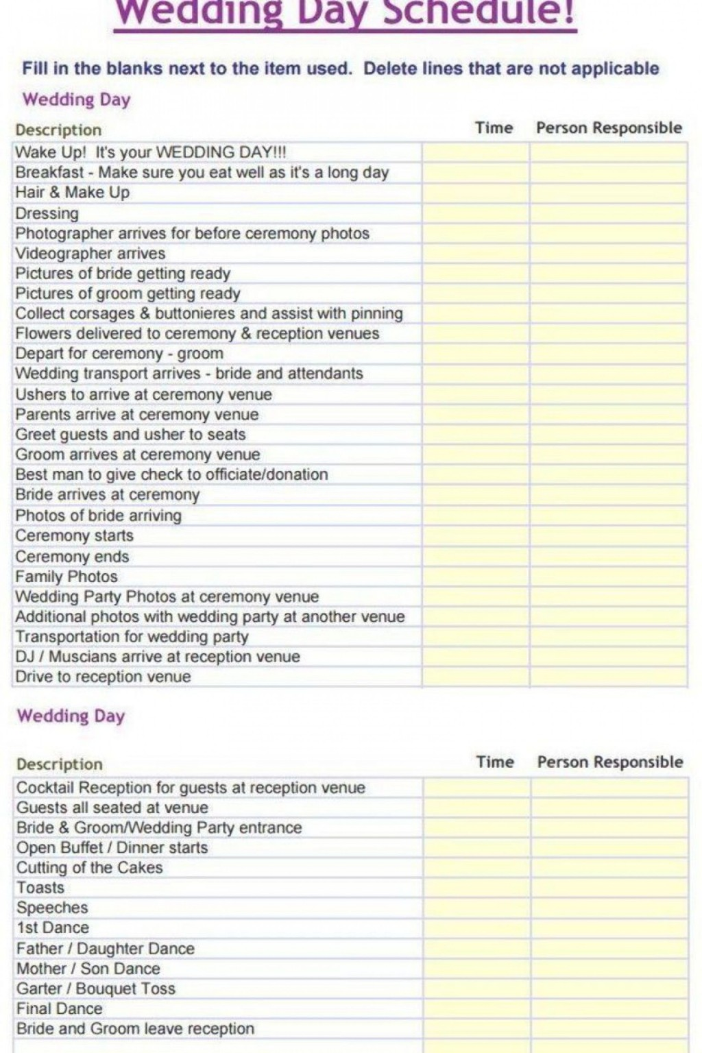 000 Sensational Wedding Day Itinerary Template High Def  Sample Excel WordLarge