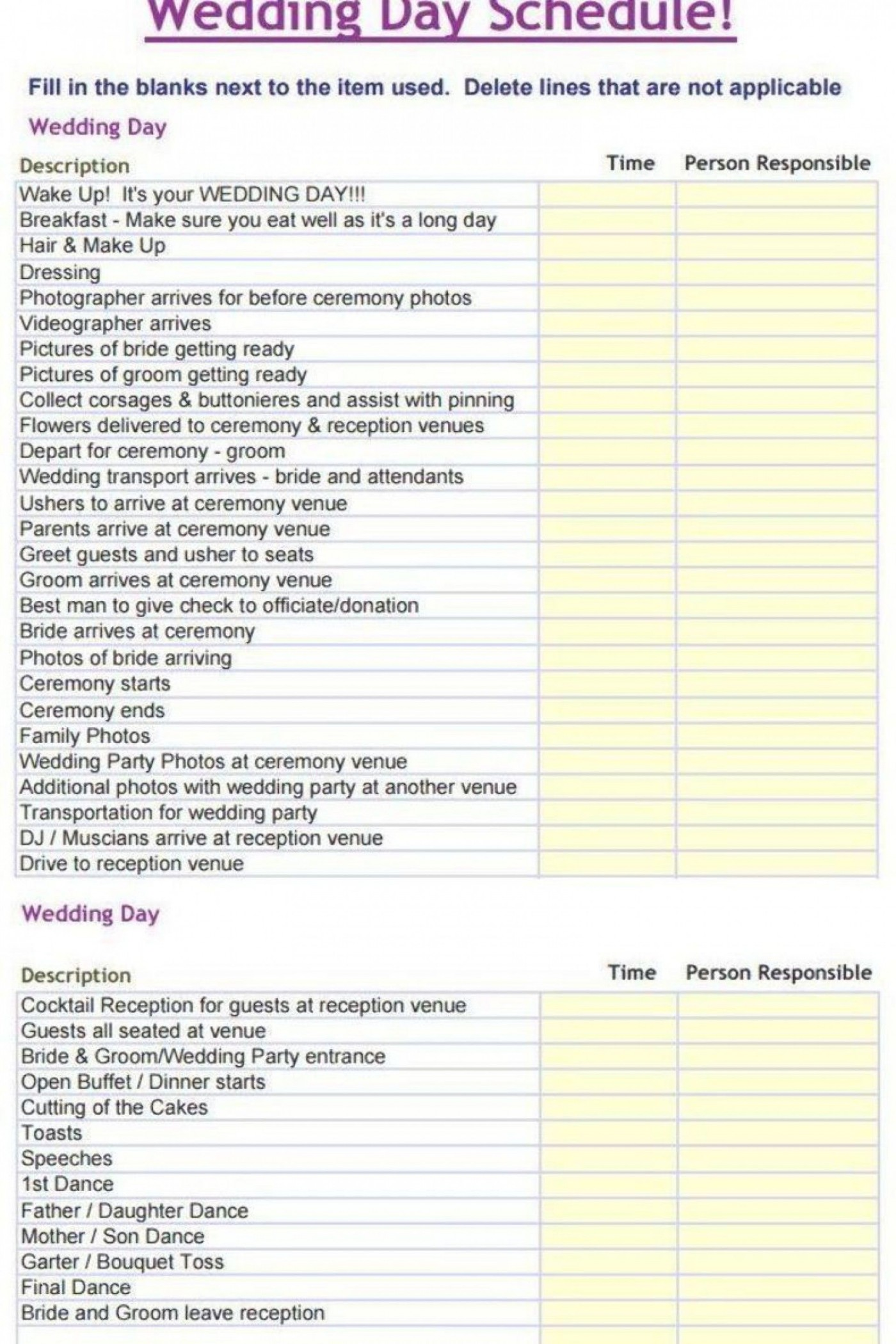 000 Sensational Wedding Day Itinerary Template High Def  Sample Excel Word1400