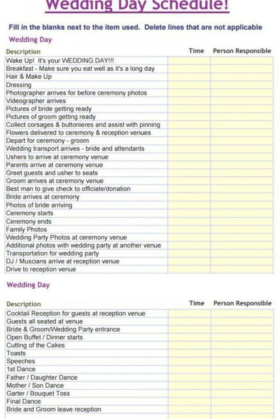 000 Sensational Wedding Day Itinerary Template High Def  Sample Excel Word960
