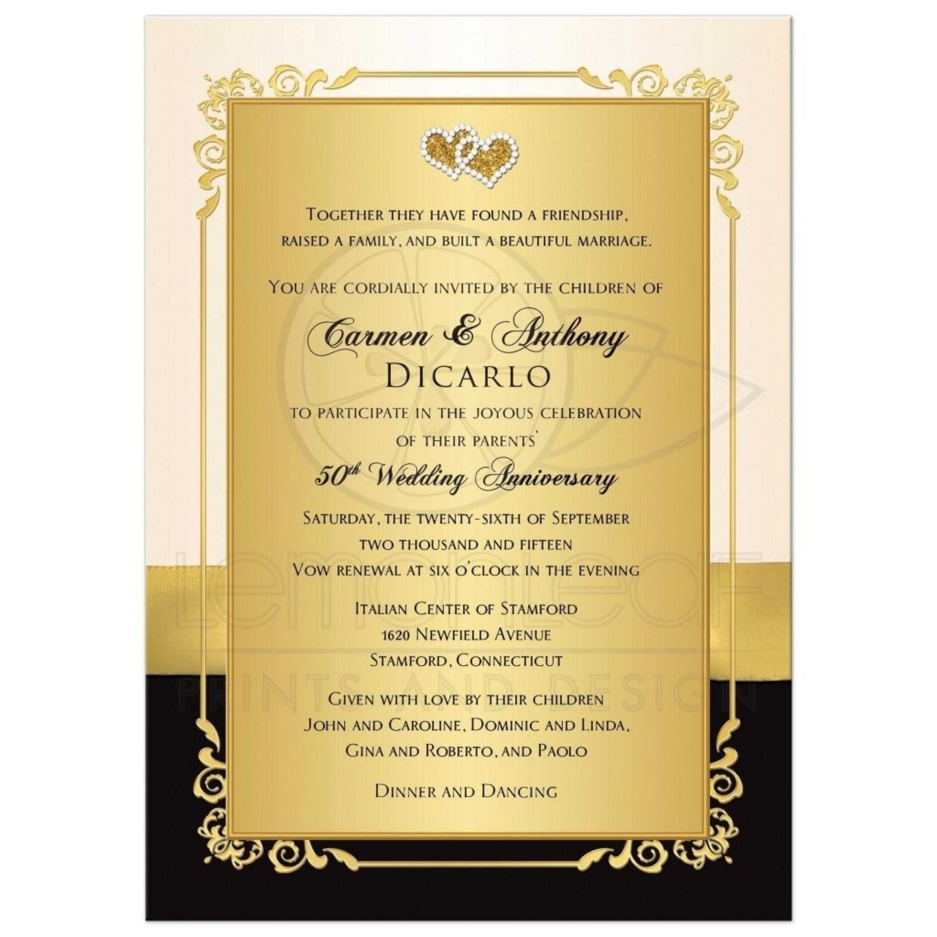 000 Shocking 50th Wedding Anniversary Invitation Sample Example  Samples Free Party Template Card Idea1920