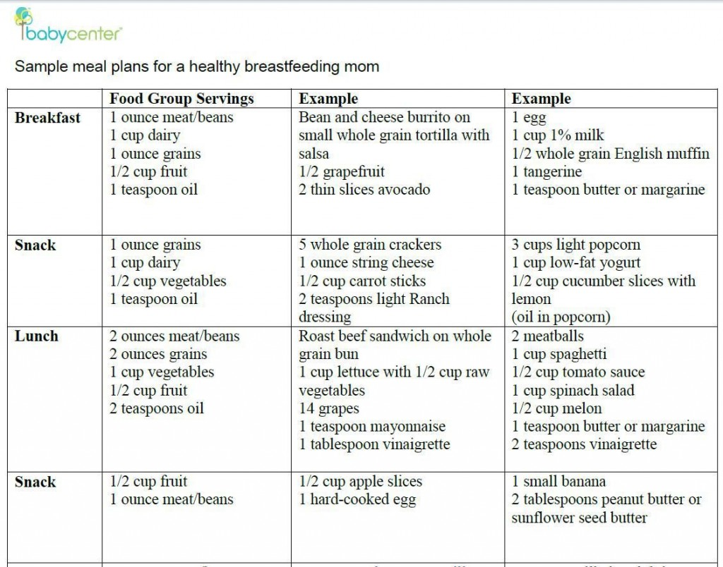000 Shocking Breastfeeding Meal Plan Sample Pdf Inspiration Large