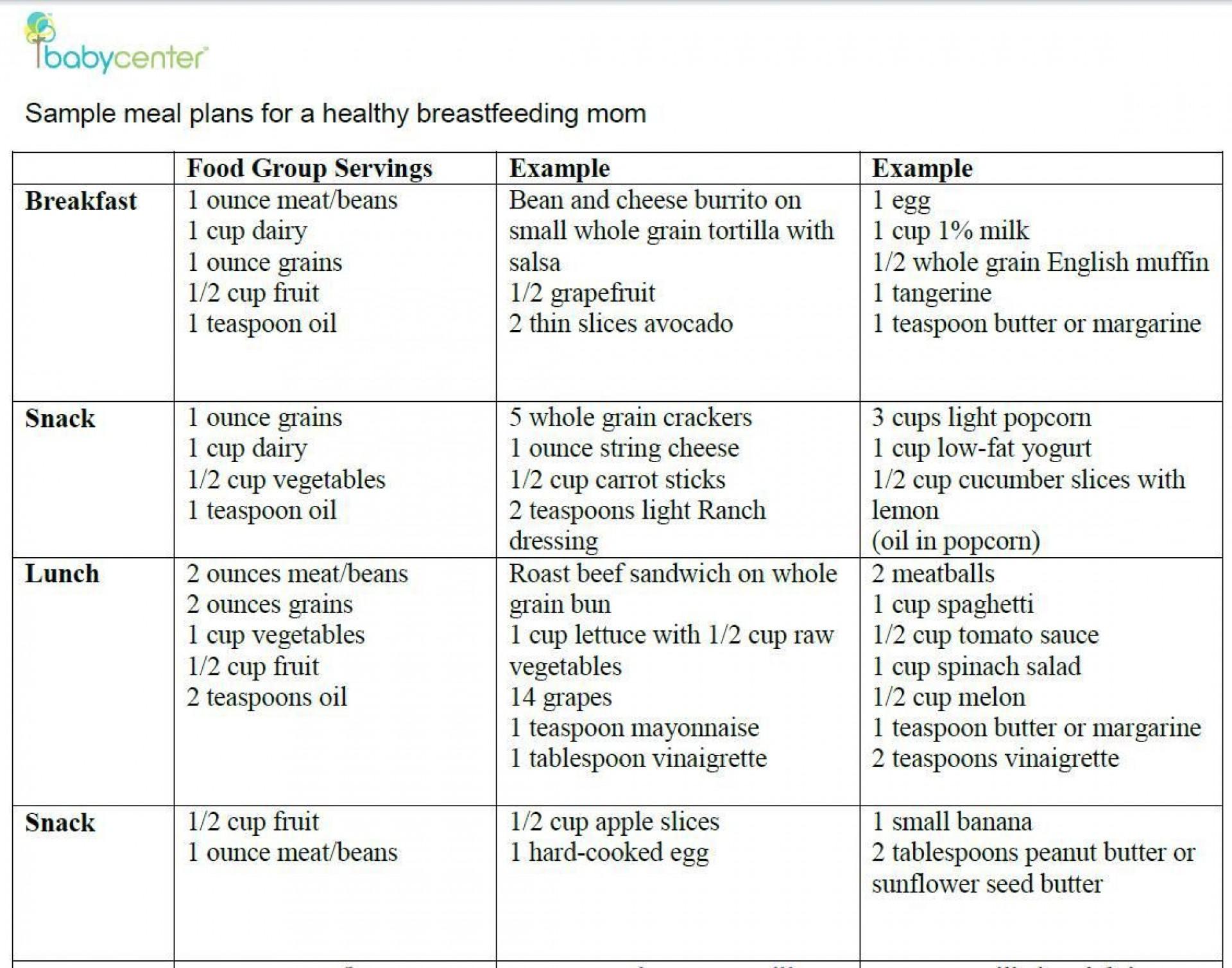 000 Shocking Breastfeeding Meal Plan Sample Pdf Inspiration 1920