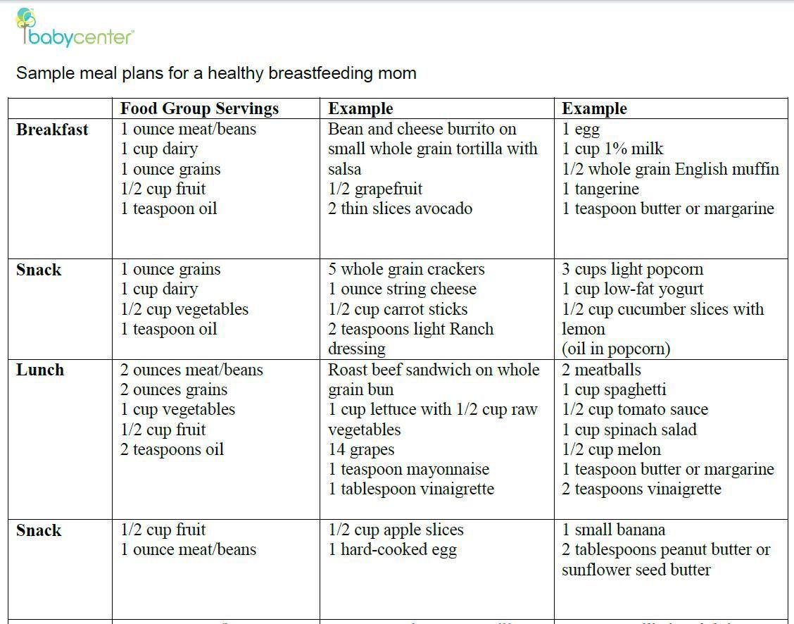 000 Shocking Breastfeeding Meal Plan Sample Pdf Inspiration Full
