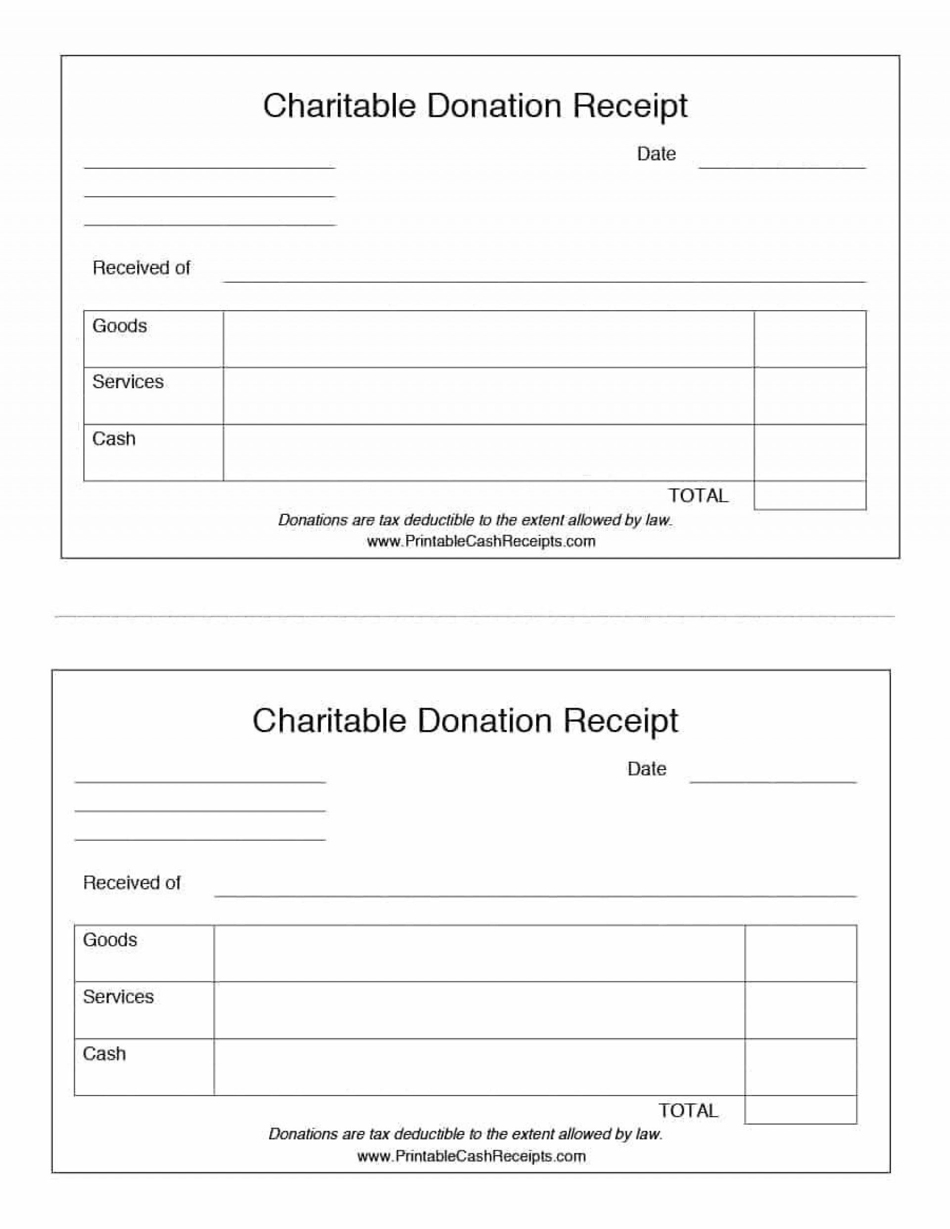 000 Shocking Charitable Tax Receipt Template Sample  Donation1920