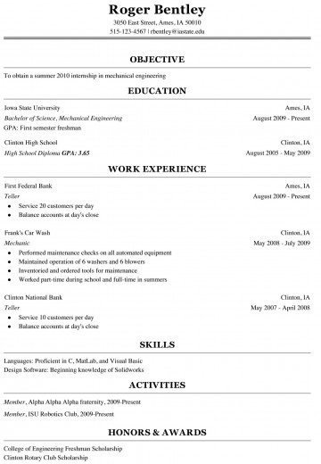000 Shocking College Freshman Resume Template Image 360