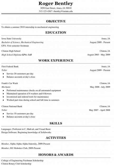 000 Shocking College Freshman Resume Template Image 480