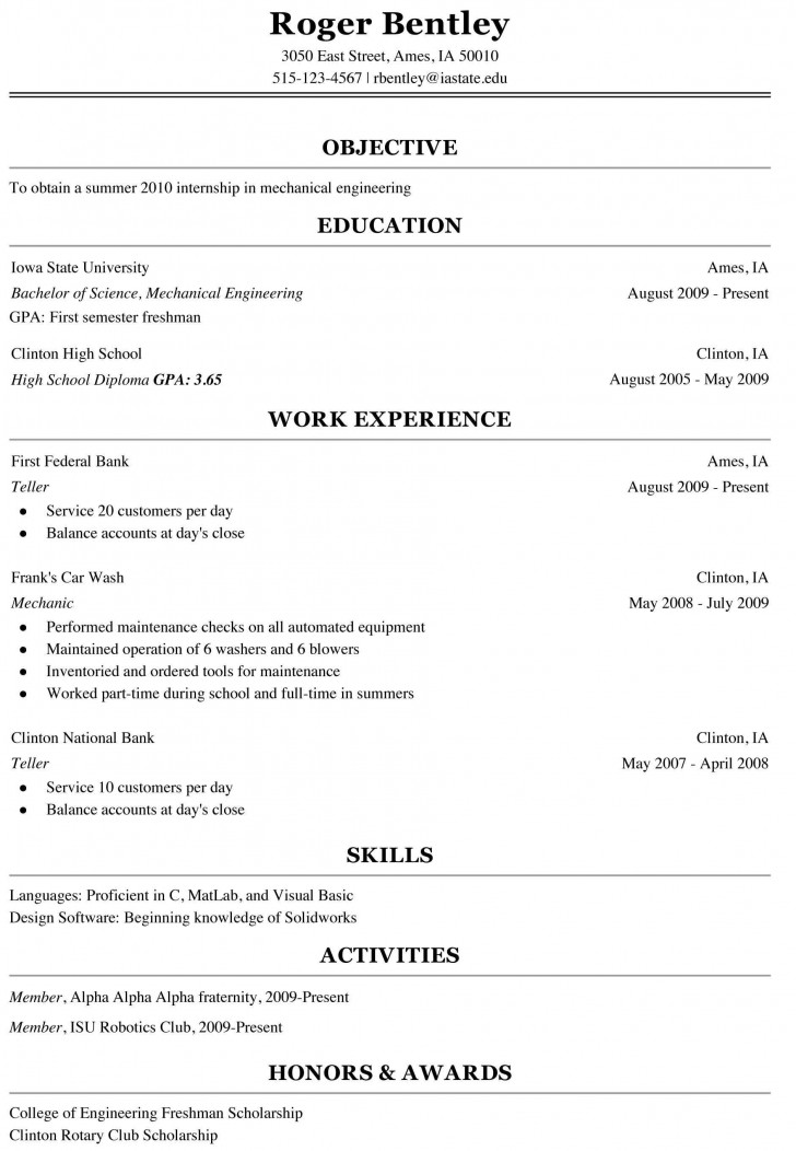 000 Shocking College Freshman Resume Template Image 728