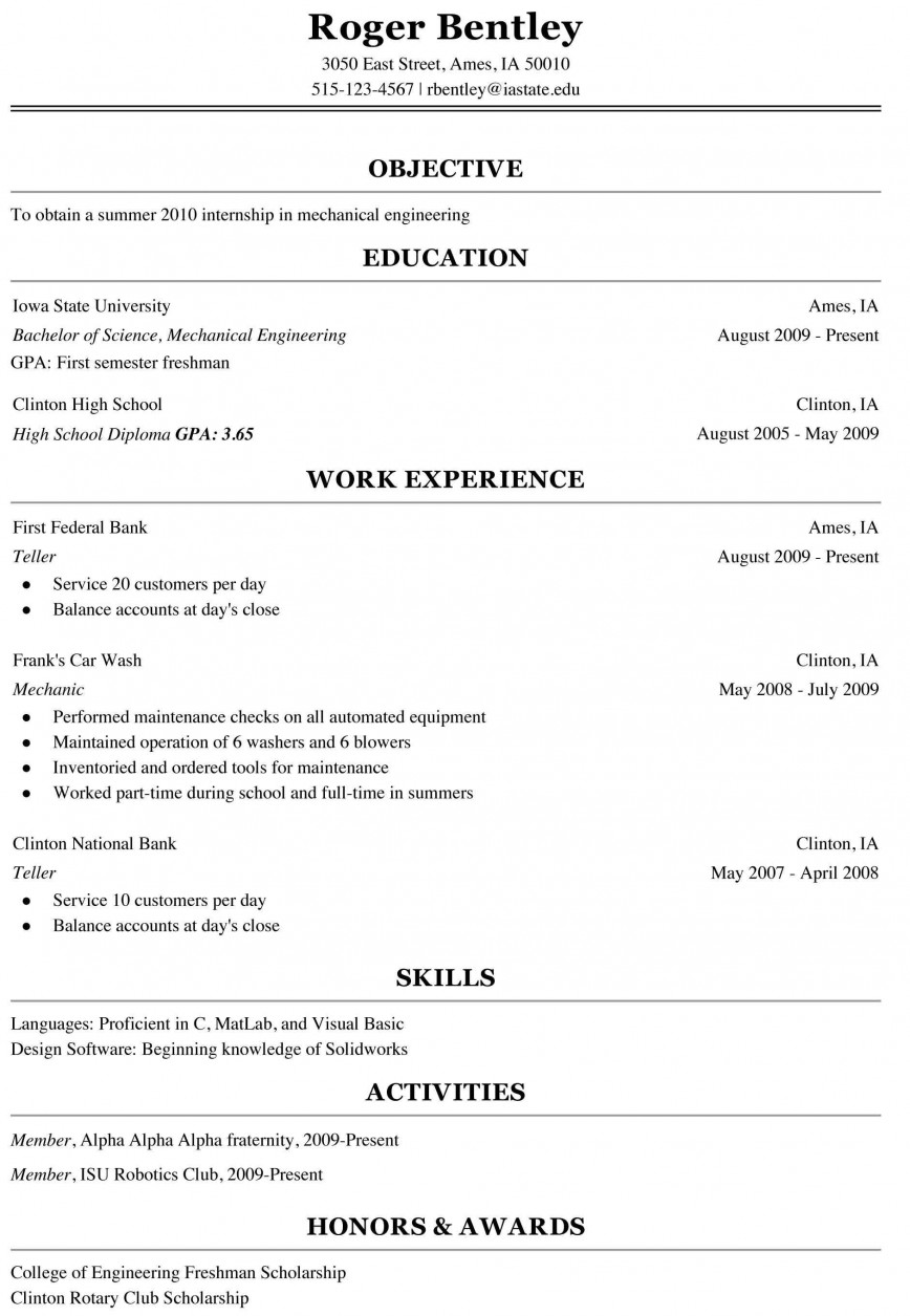 000 Shocking College Freshman Resume Template Image 868