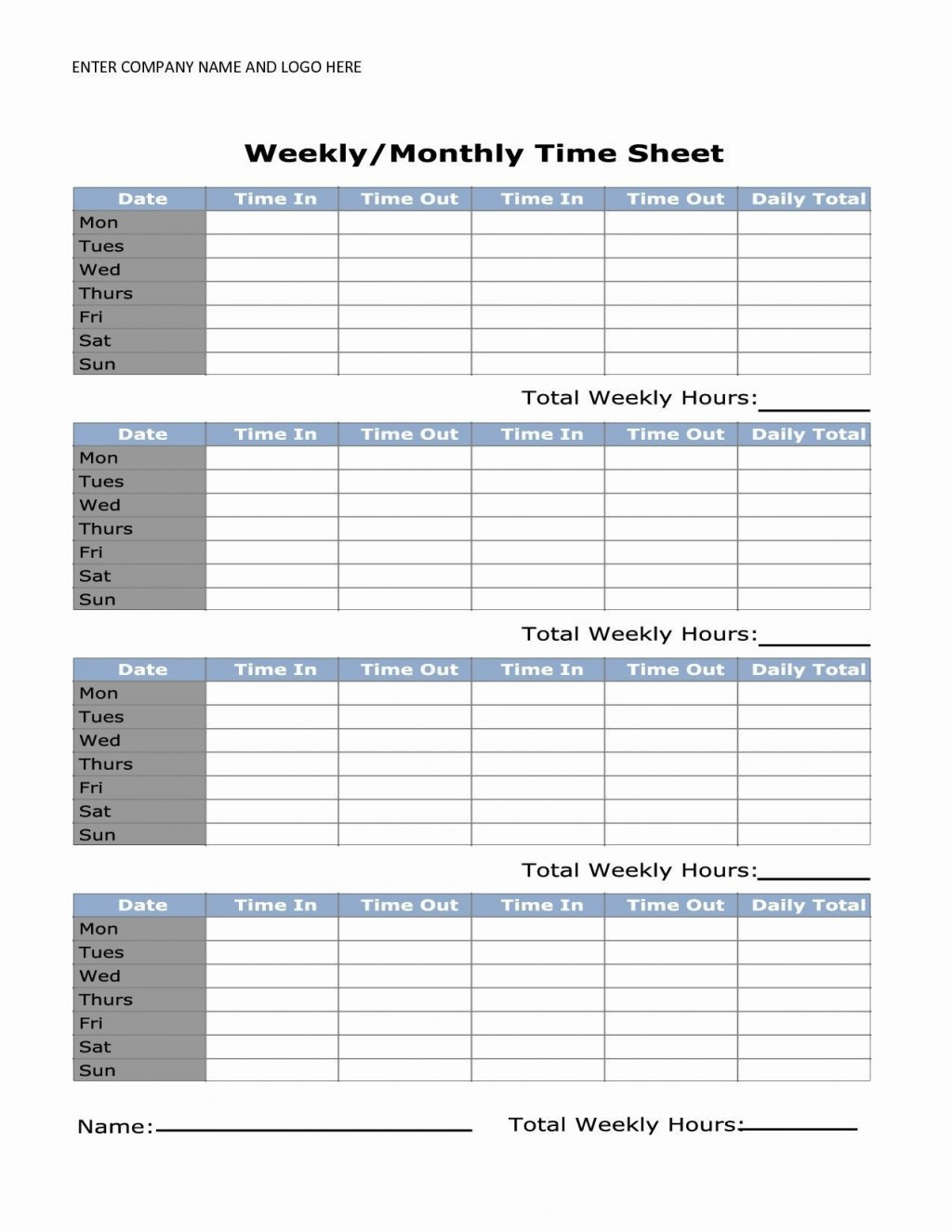 000 Shocking Daily Timesheet Template Free Printable High Resolution Large