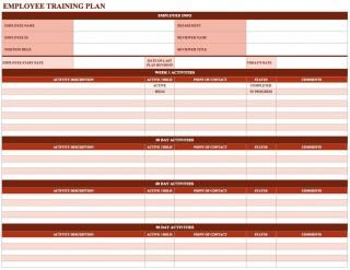 000 Shocking Employee Training Plan Template Highest Clarity  Word Excel Download Staff Program320