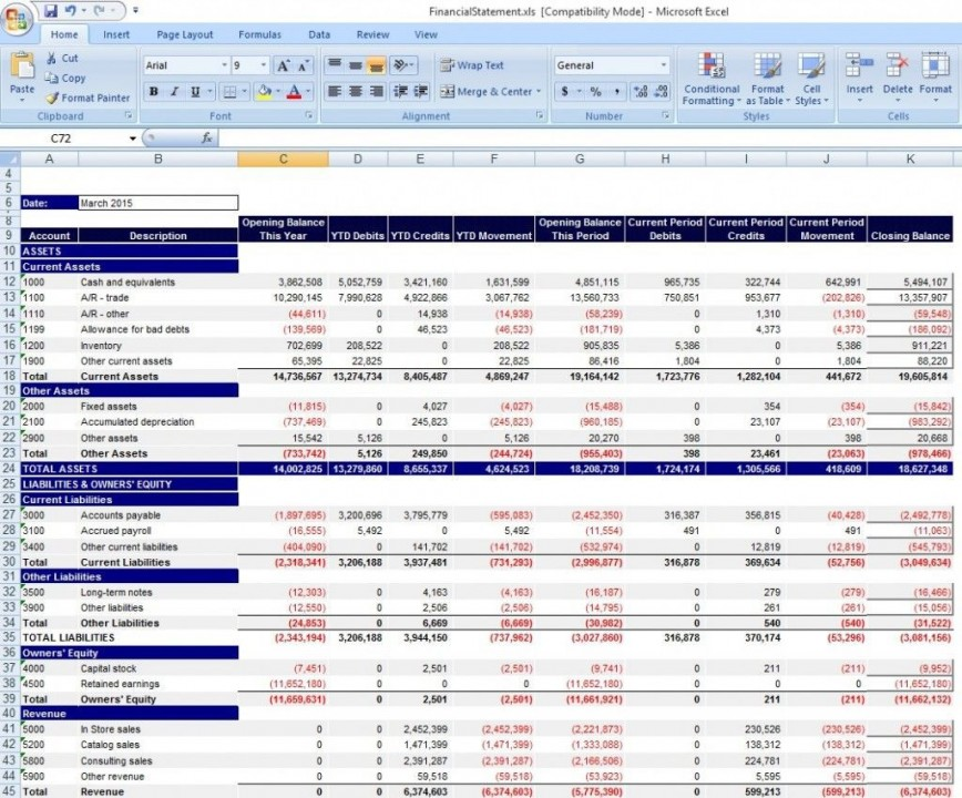 000 Shocking Financial Statement Template Excel Inspiration  Analysi Personal Free Download