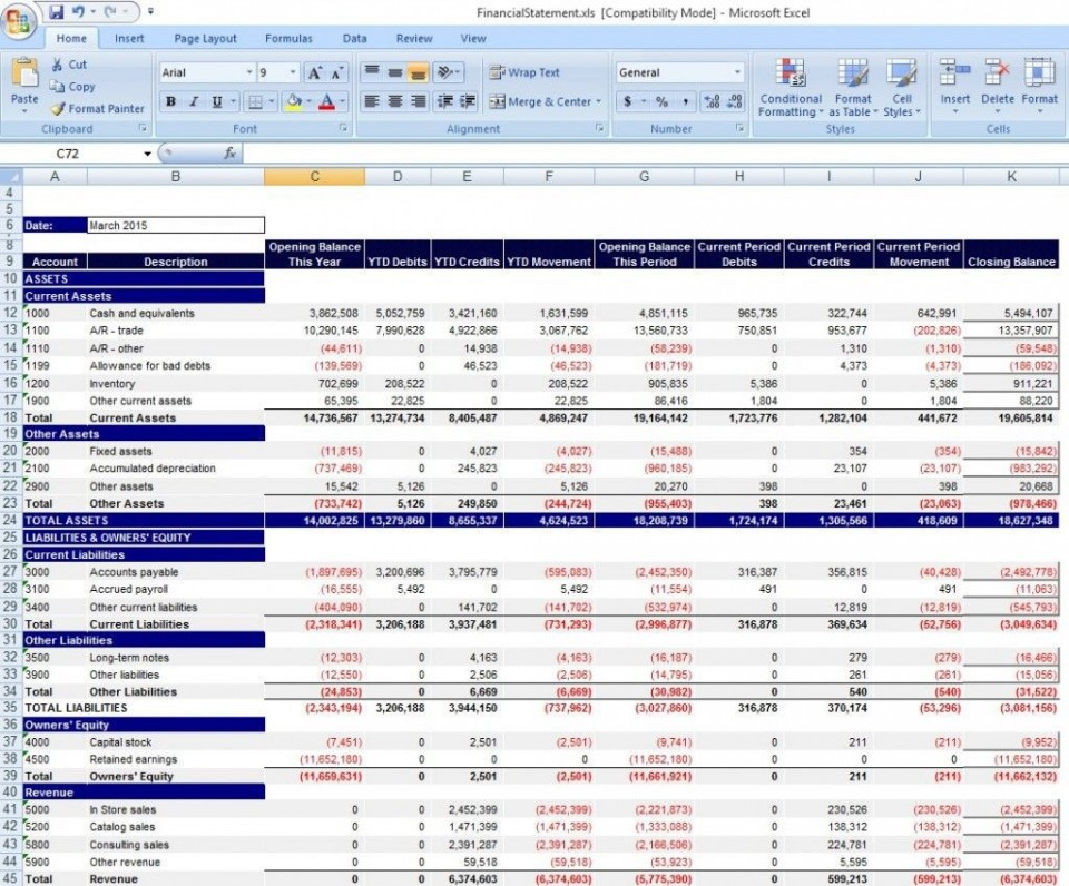 000 Shocking Financial Statement Template Excel Inspiration  Personal Example Interim Free Download960