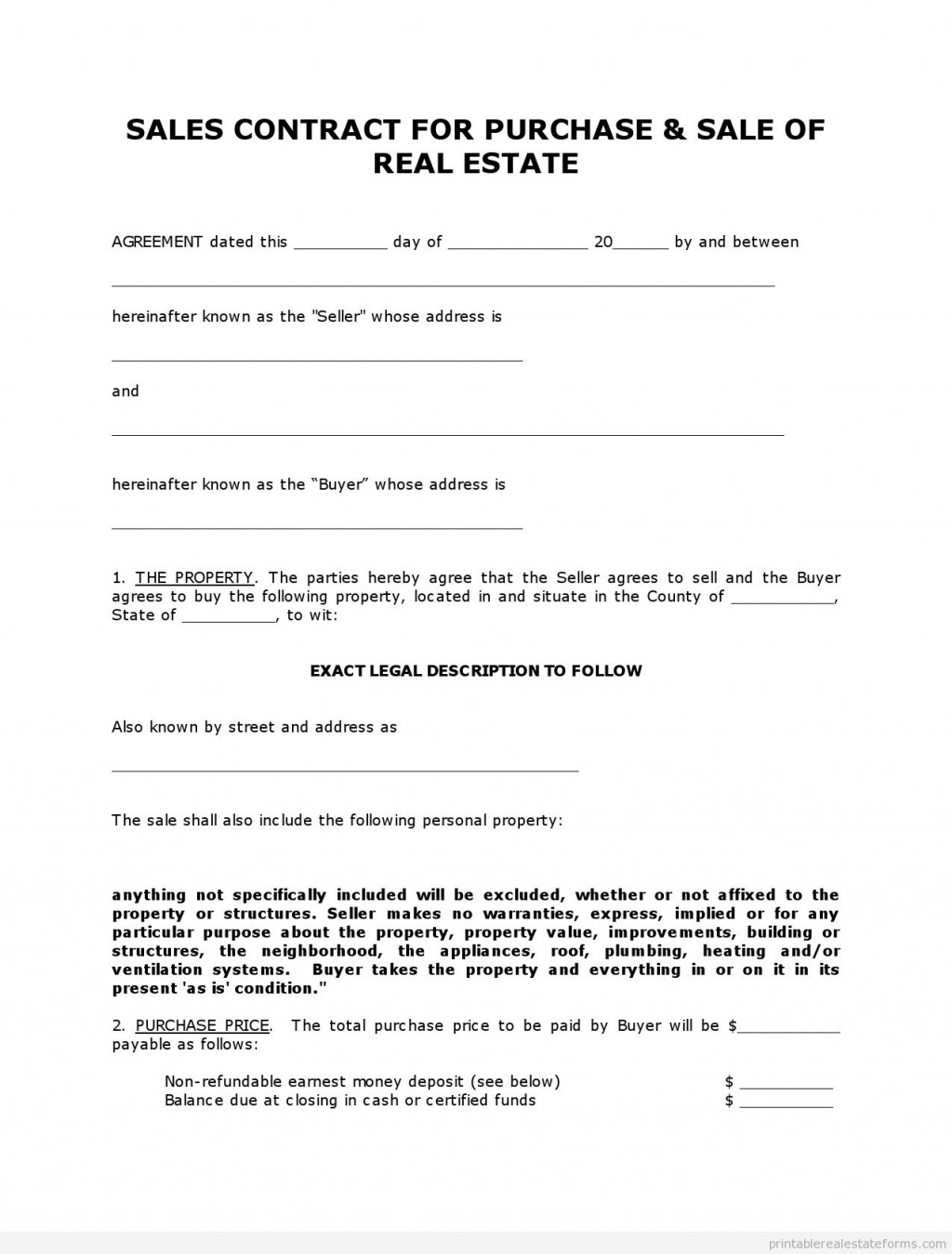 000 Shocking Free Home Purchase Contract Template High Def Large