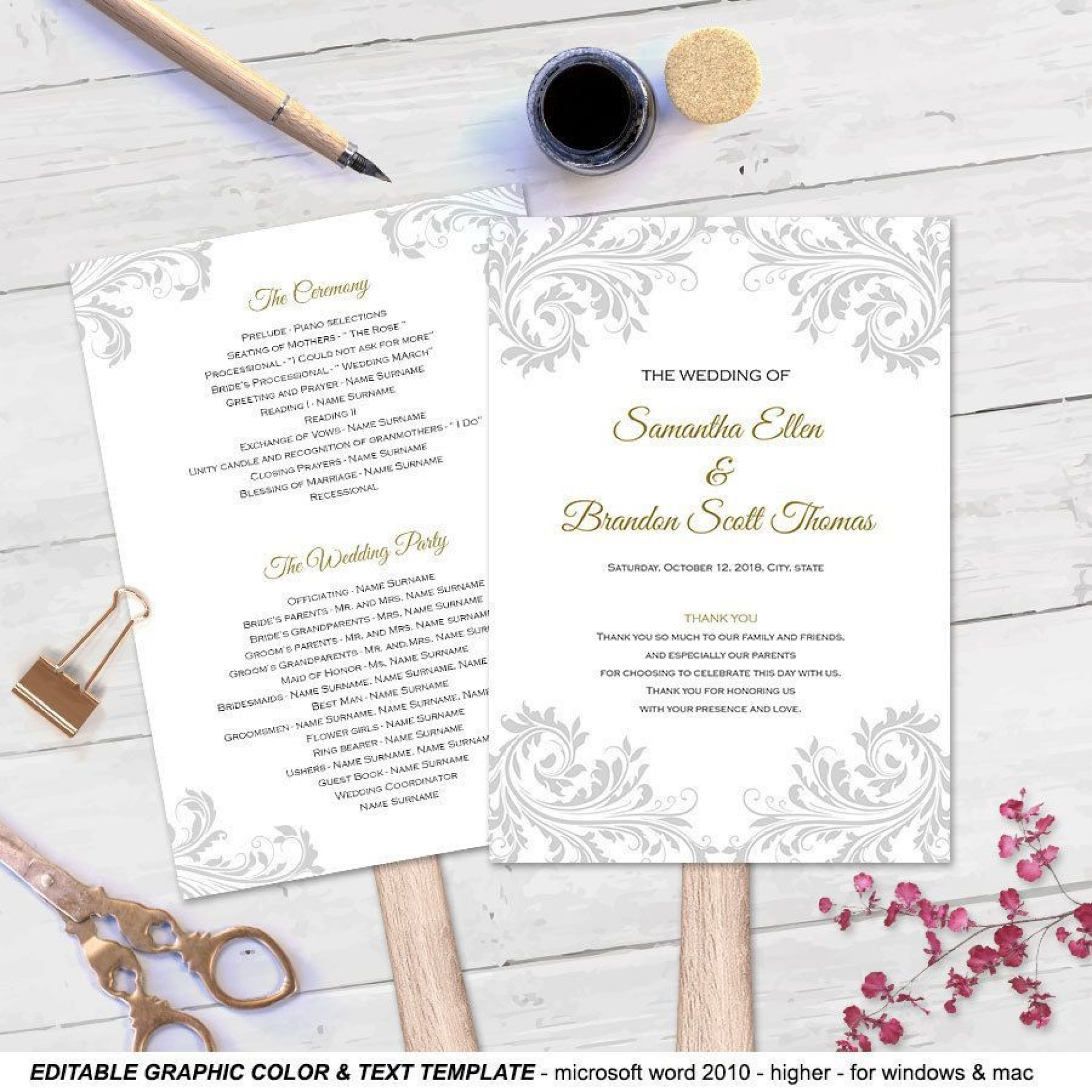 000 Shocking Free Wedding Program Fan Template High Definition  Templates Printable Paddle Word1920