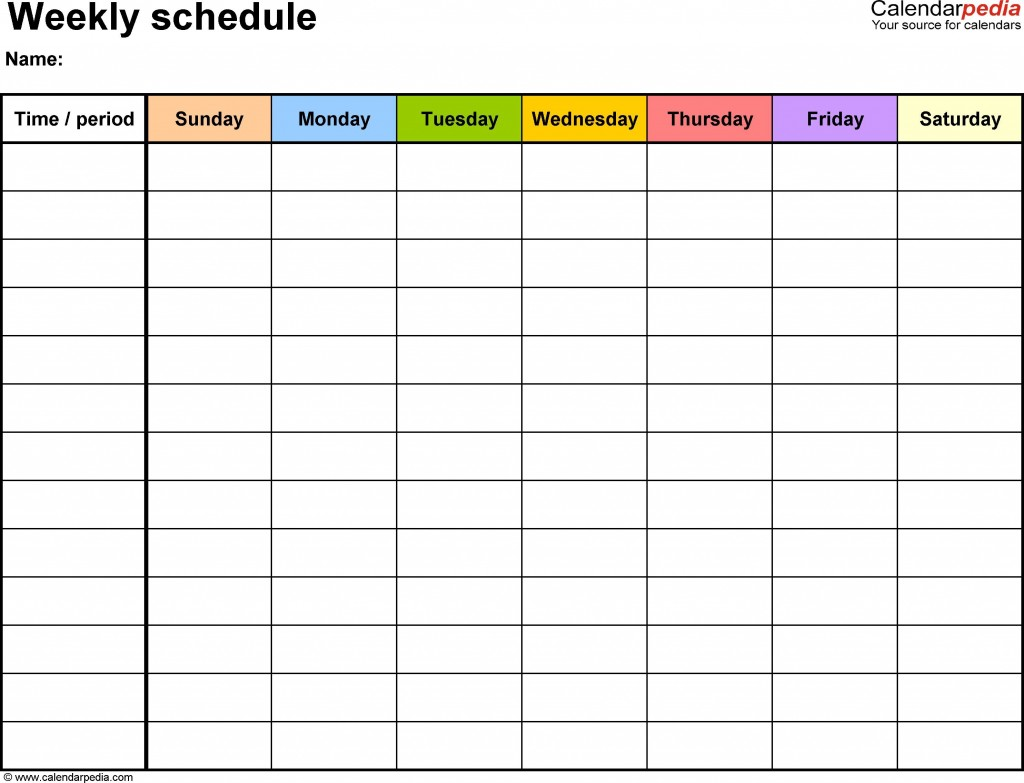 000 Shocking Free Weekly Calendar Template High Definition  Printable With Time Slot 2019 WordLarge