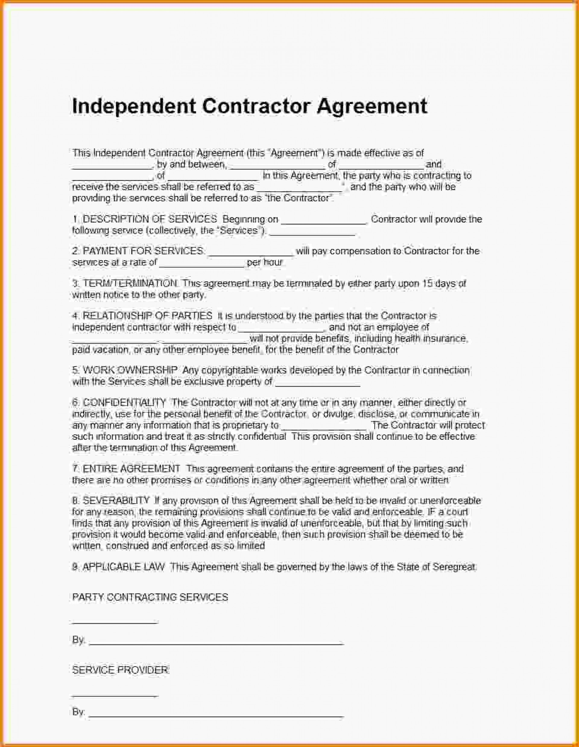 000 Shocking Independent Consultant Contract Template Image  Free Contractor Consulting Agreement South Africa1920