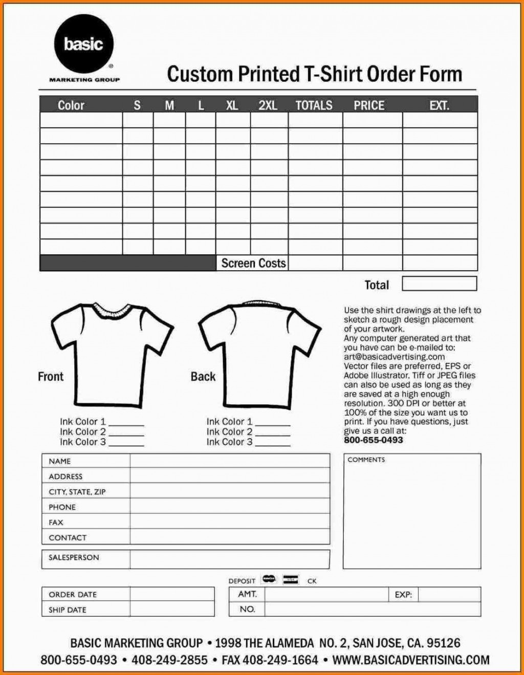 000 Shocking Shirt Order Form Template High Def  Templates T Microsoft Word Excel Download TeeLarge