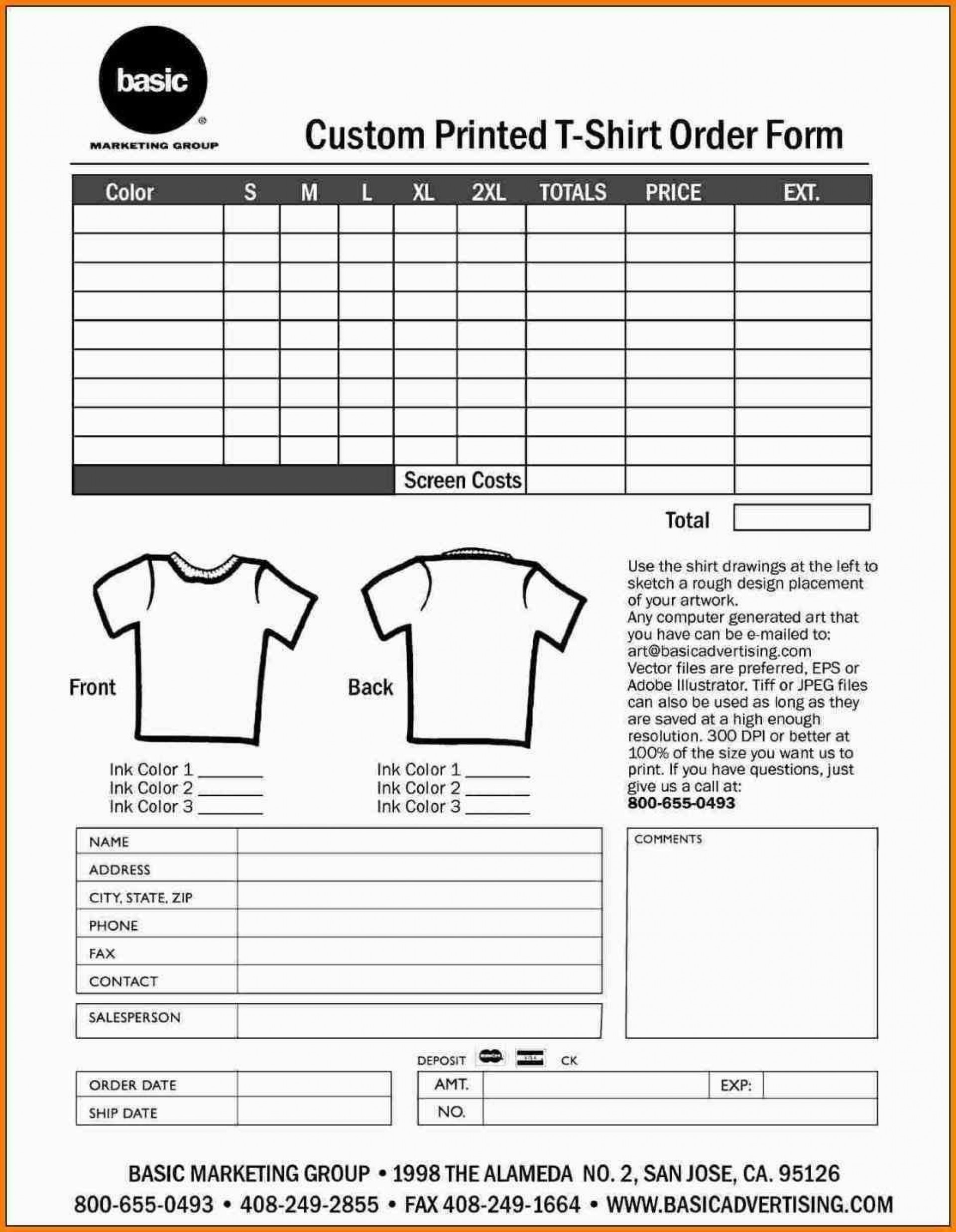 000 Shocking Shirt Order Form Template High Def  Templates T Microsoft Word Excel Download Tee1920